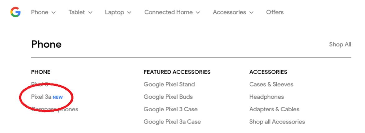 Pixel 3a Google Store leak