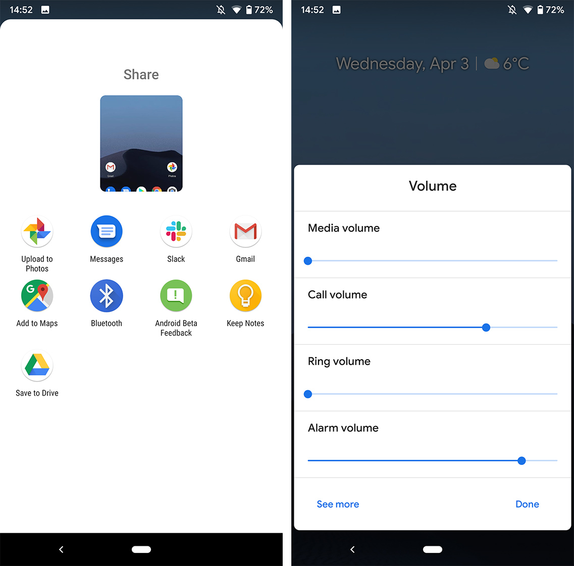 Android Q Beta sharing menu and volume