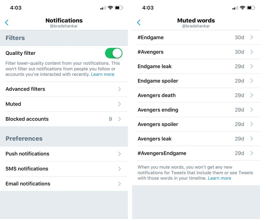 Twitter mute feature
