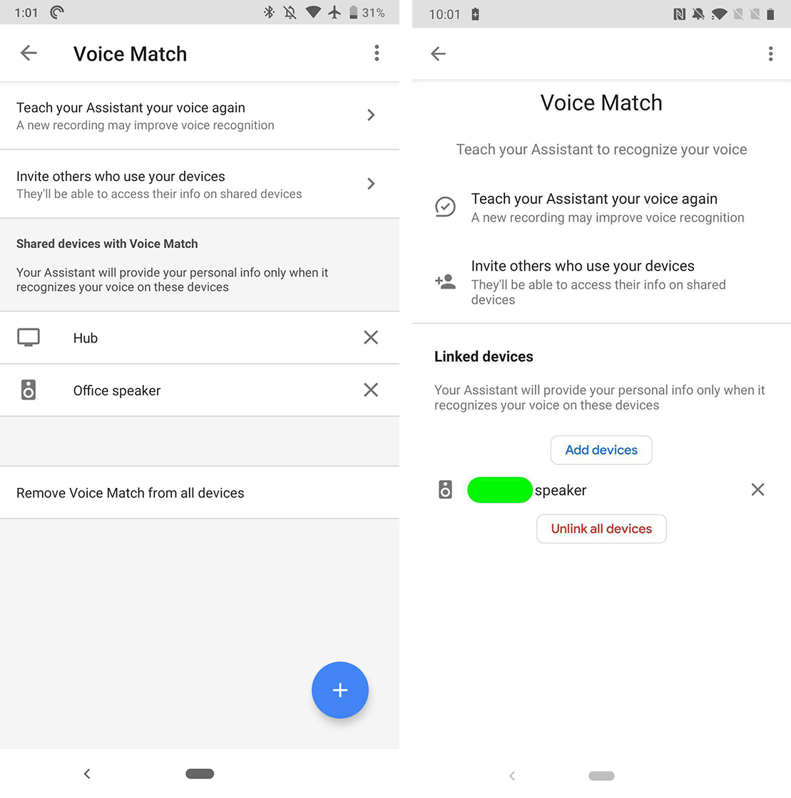 Google app Voice Match settings change