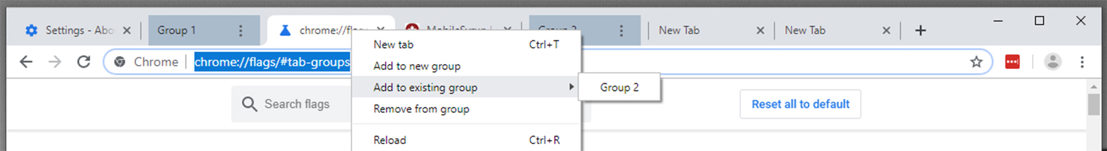 Google Chrome's 'tab grouping' feature gets headers