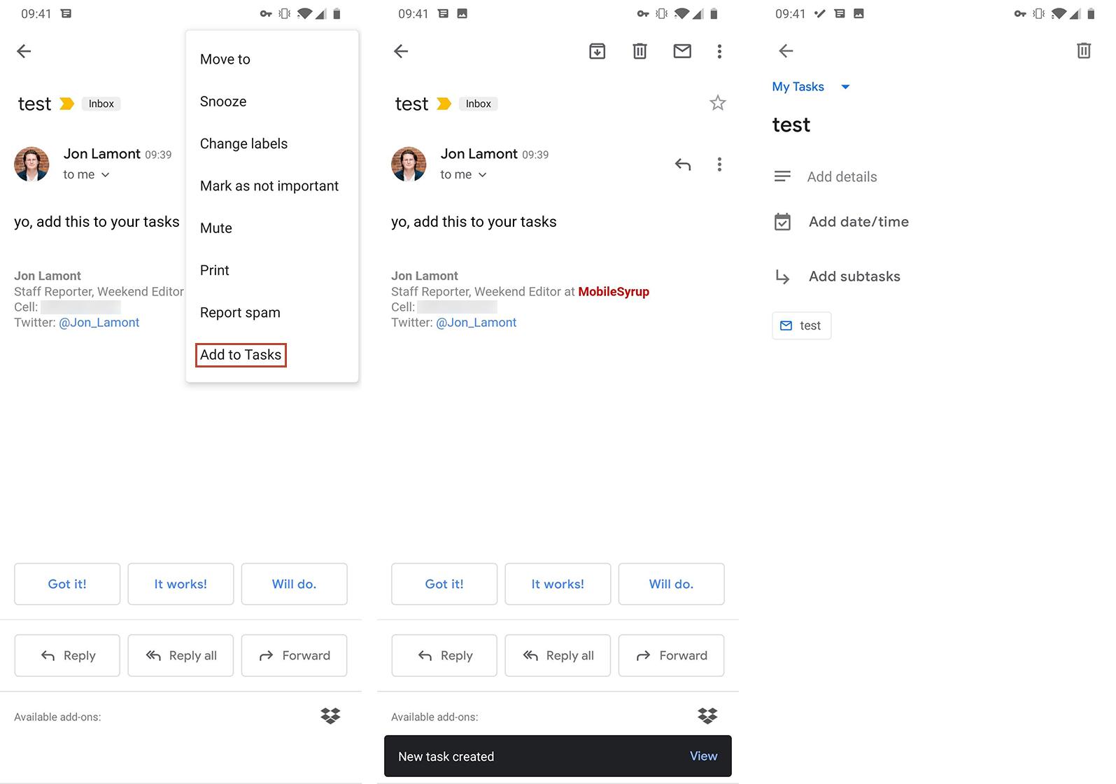 Gmail on Android Tasks integration