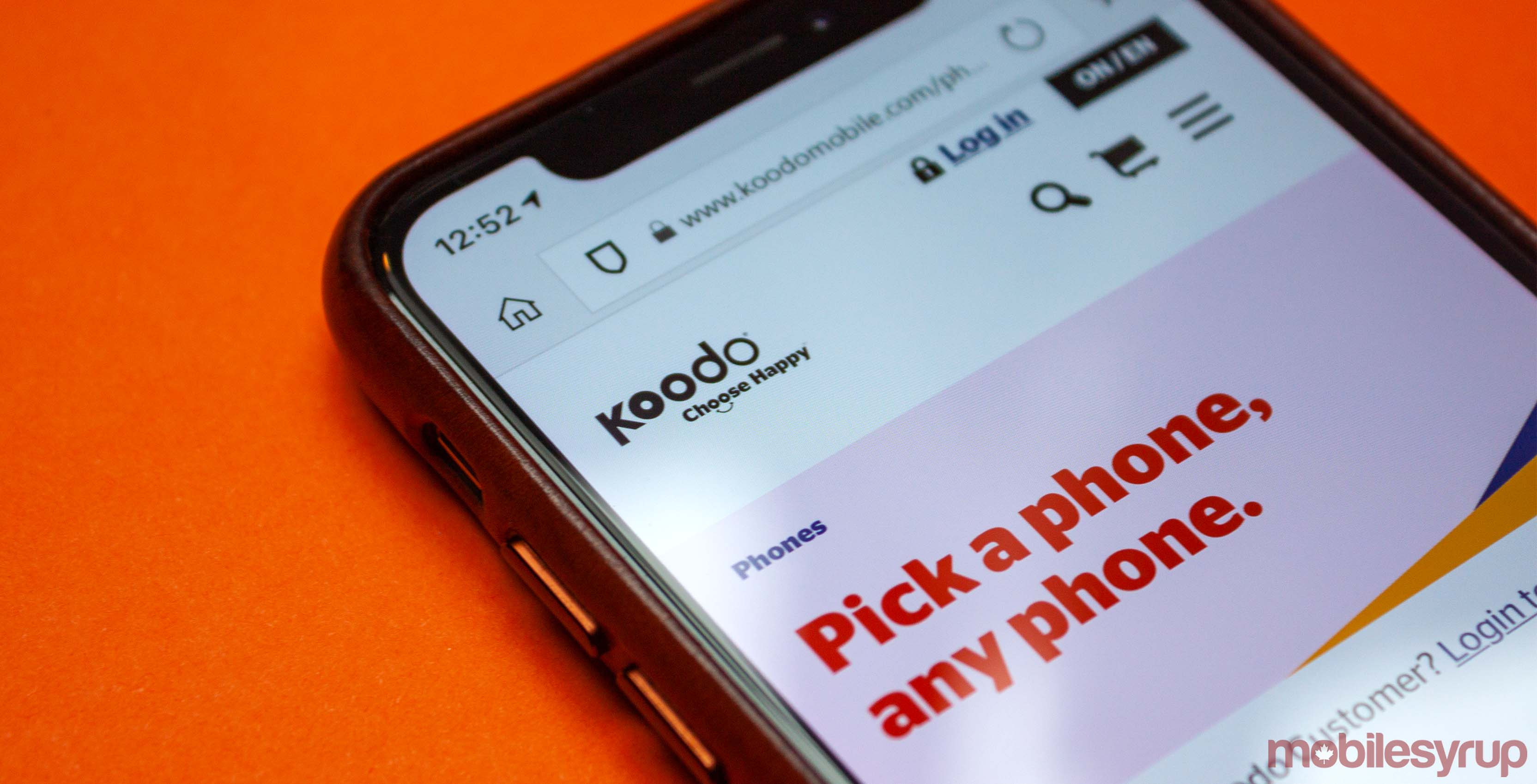 Koodo website on iPhone