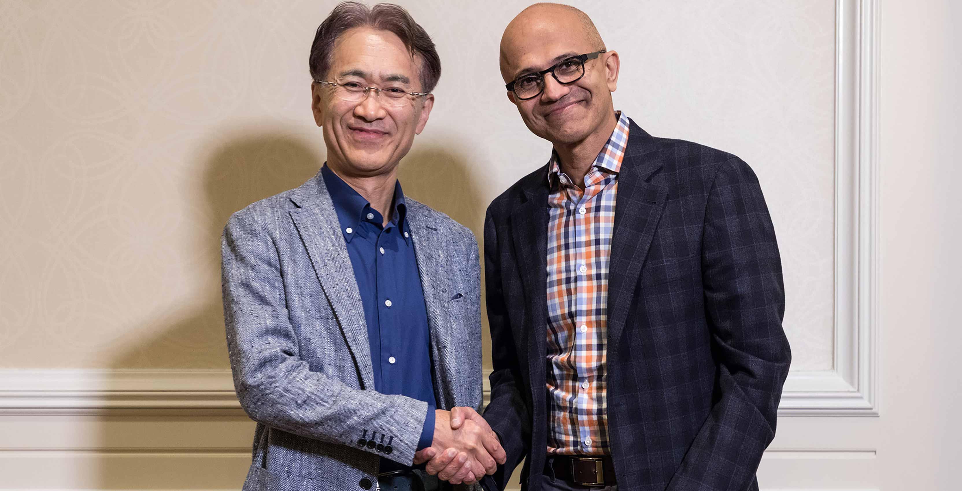 Sony's Kenichiro Yoshida with Microsoft's Satya Nadella
