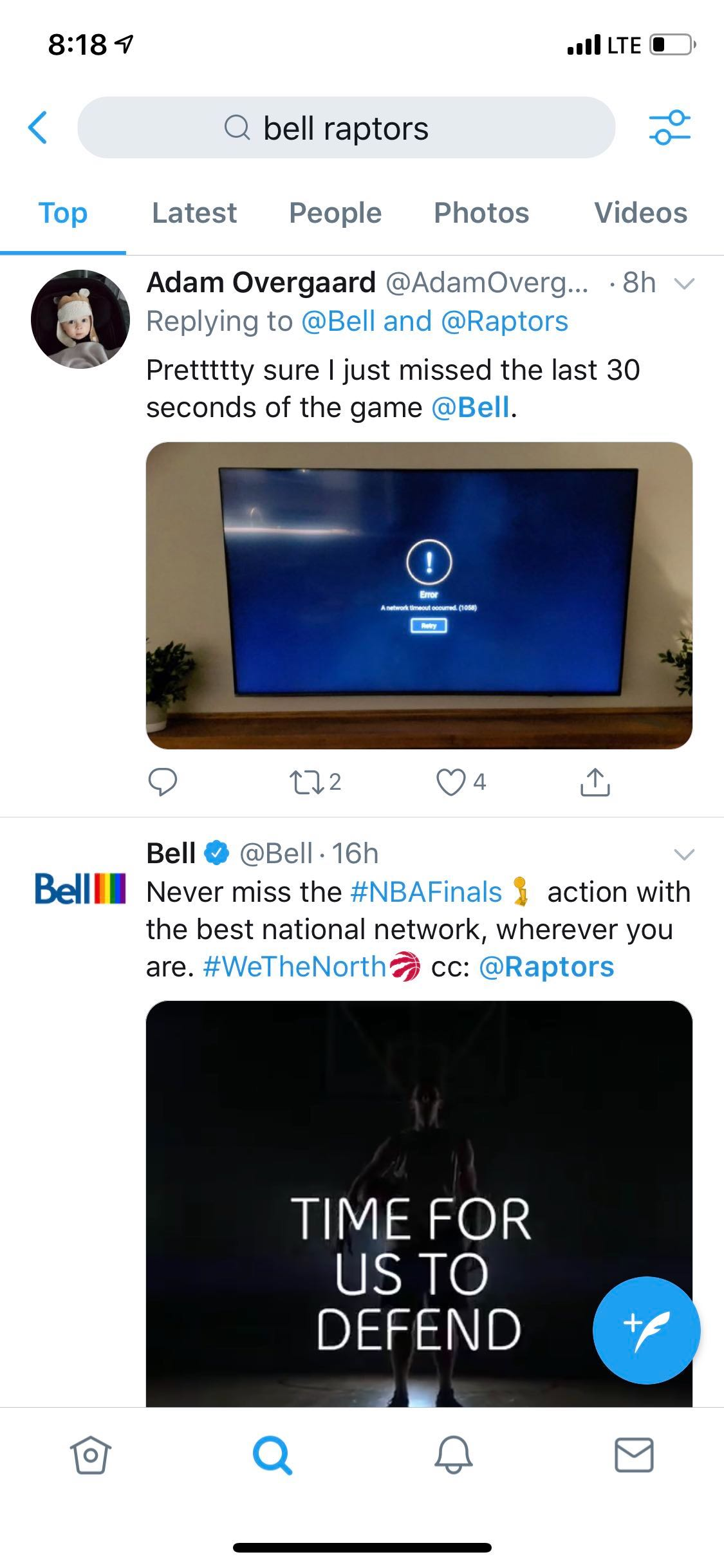 Bell Fibe TV customers lost connection during the final moments of
