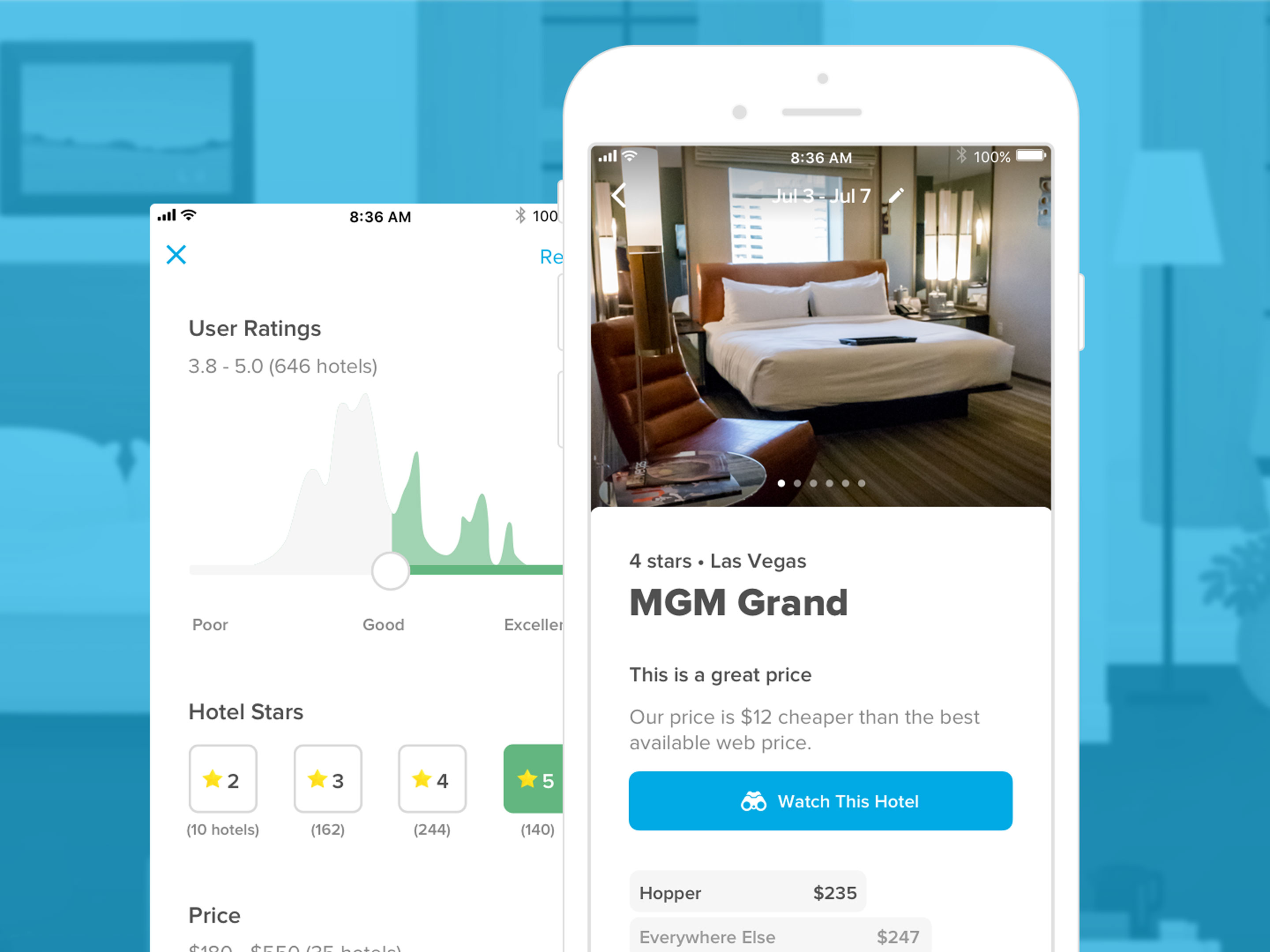 Hopper on iOS now lets you track hotel rates