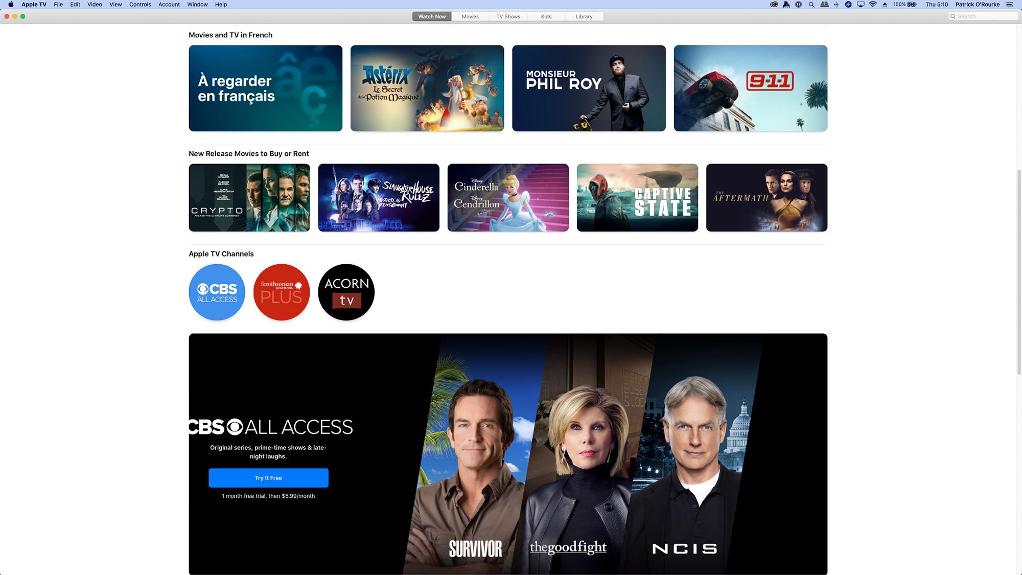 TV App macOS Catalina