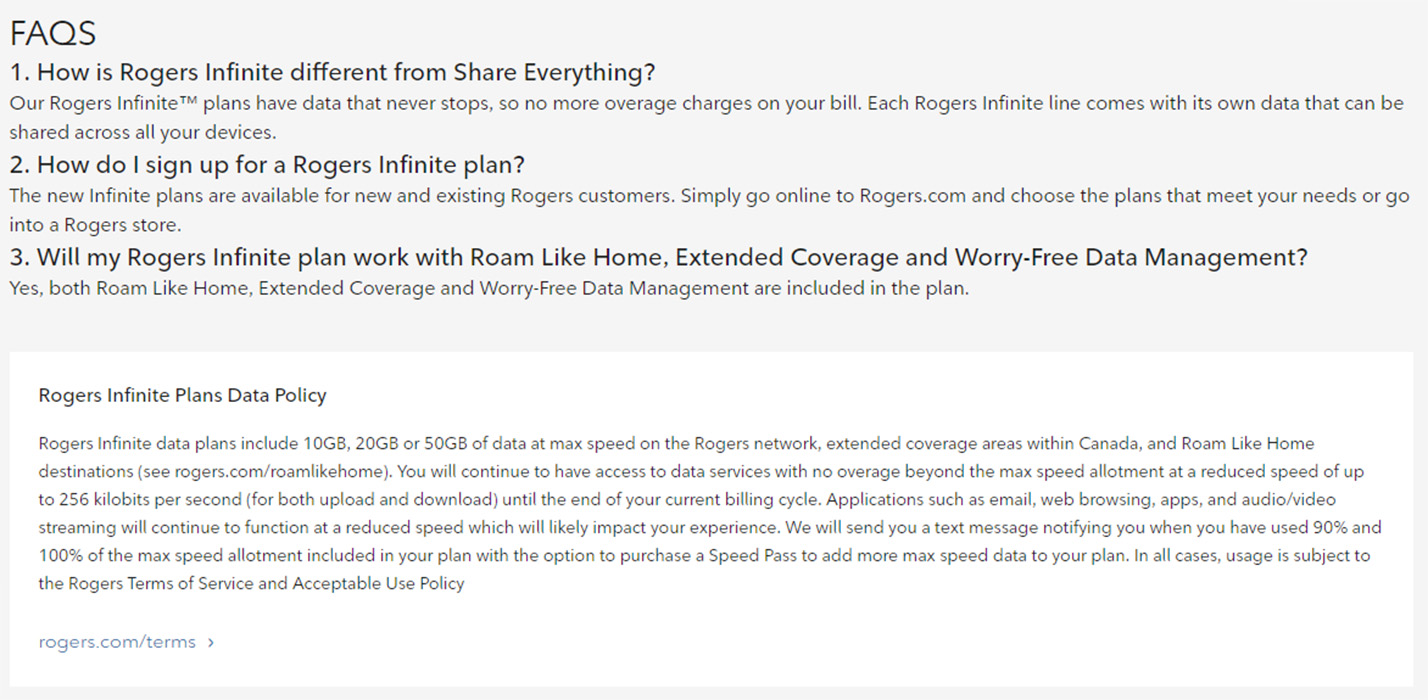Rogers Infinite FAQs and Data Policy
