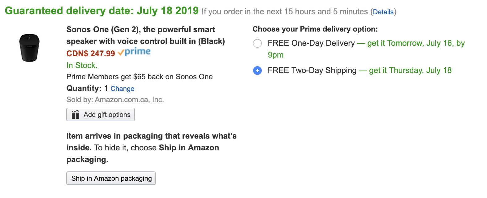 A Prime Day deal on the Sonos One
