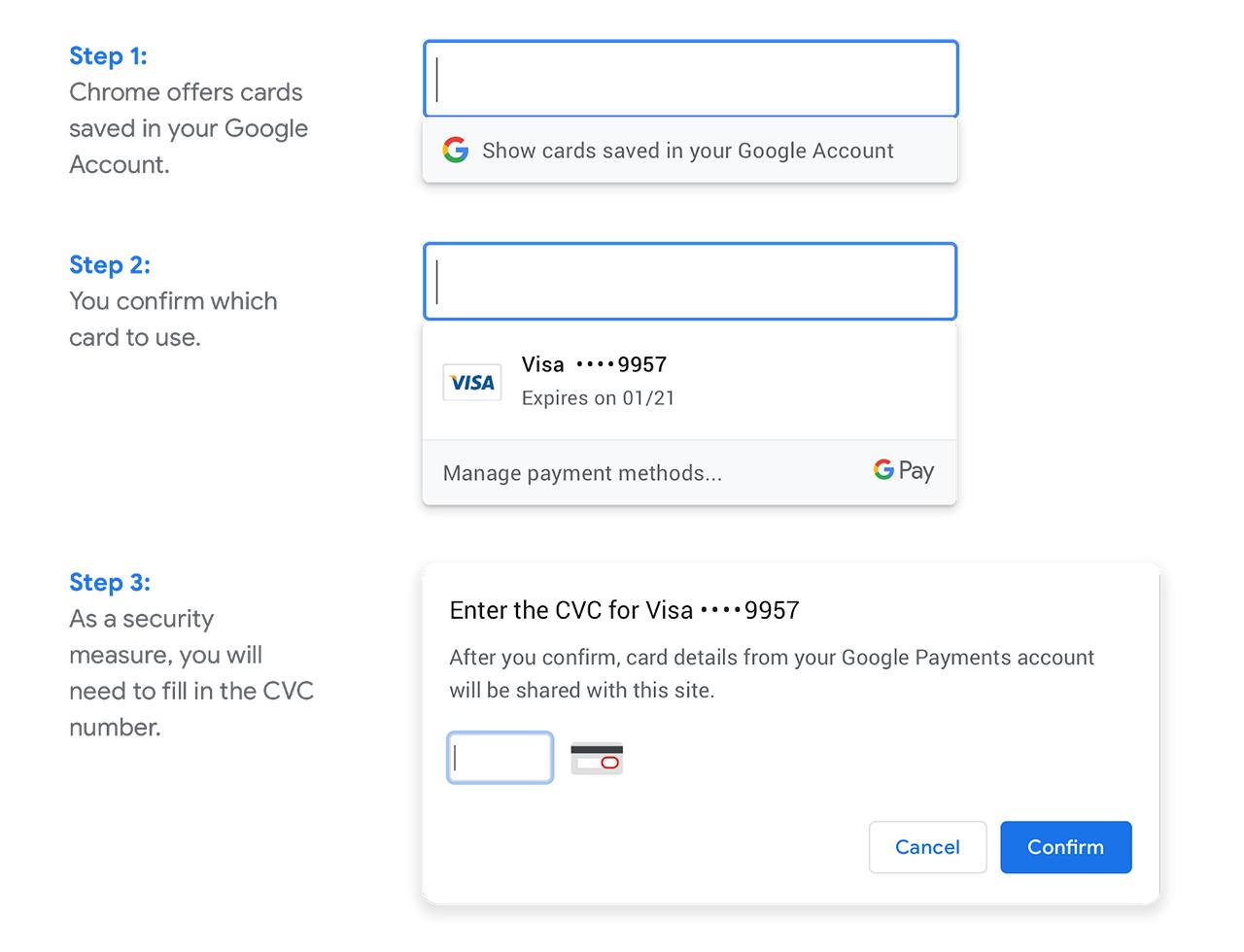 Google Chrome payment methods