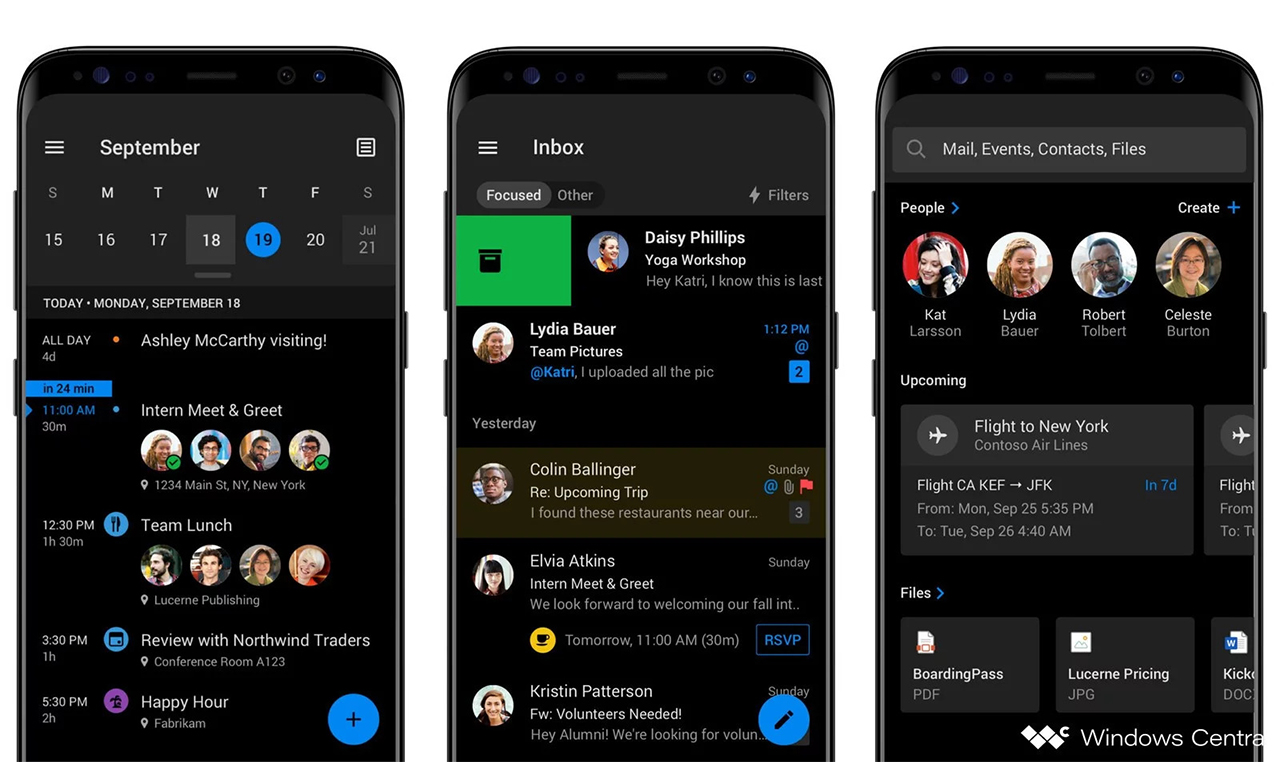 Outlook on Android dark mode render