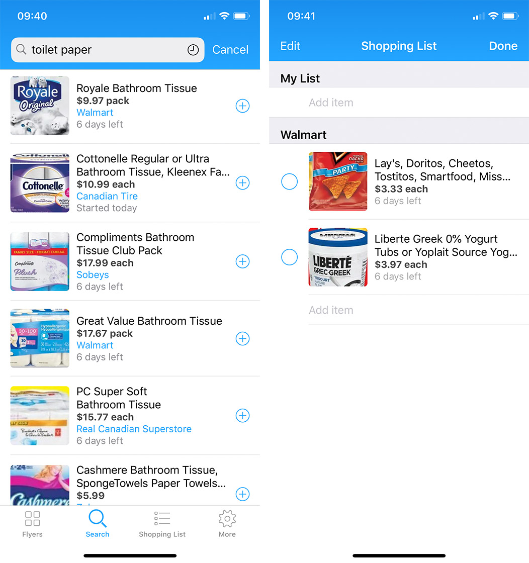 Reebee search and shopping list