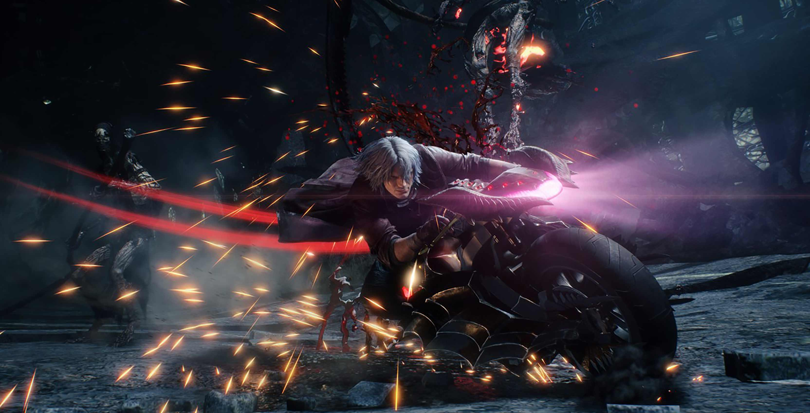 Devil May Cry 5 Dante on motorcycle