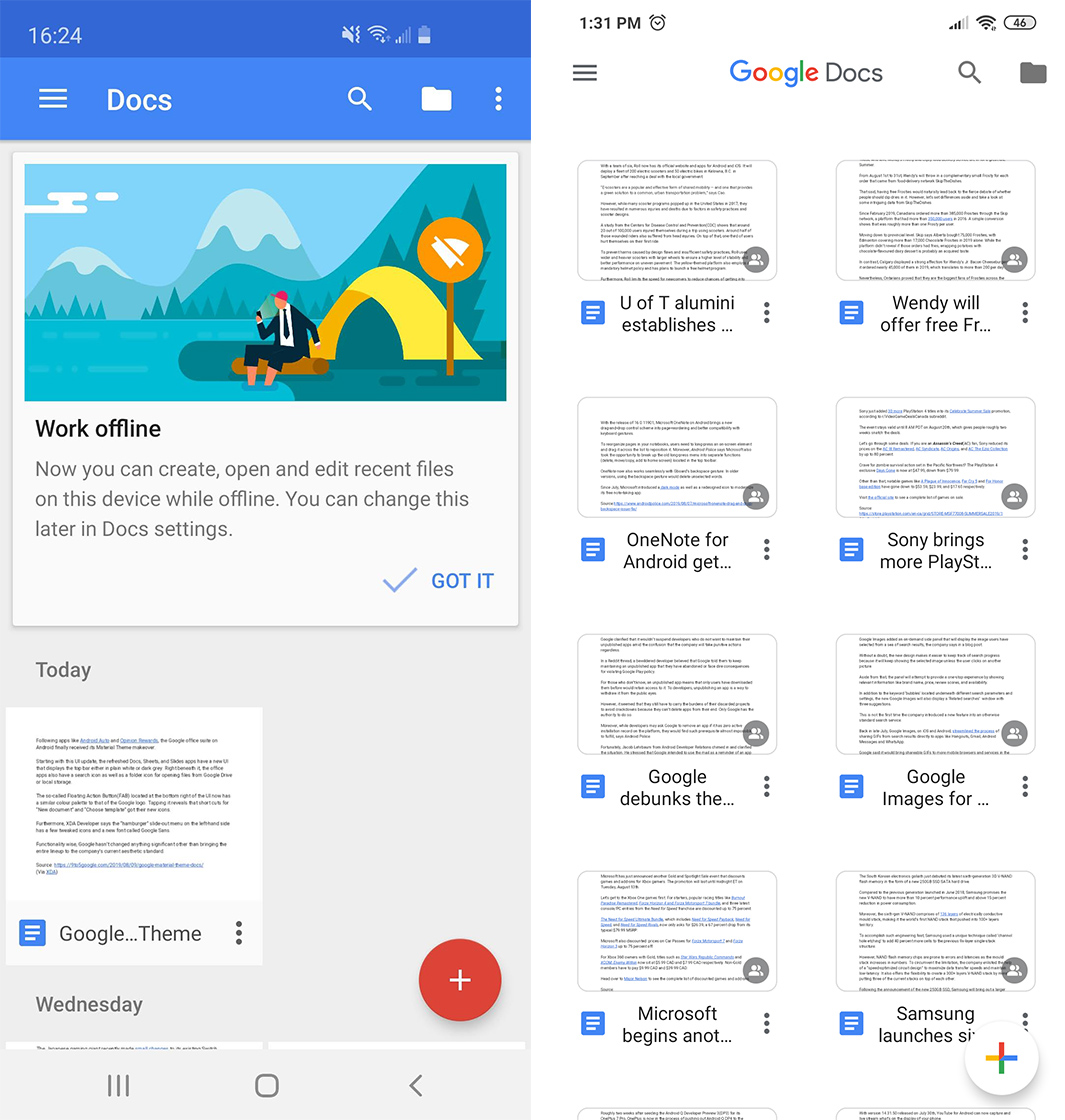 Google finally brings Material Theme to its Docs, Sheets and Slides apps