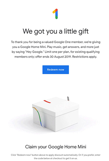 Google offering free Home Mini to 'Google One' subscribers