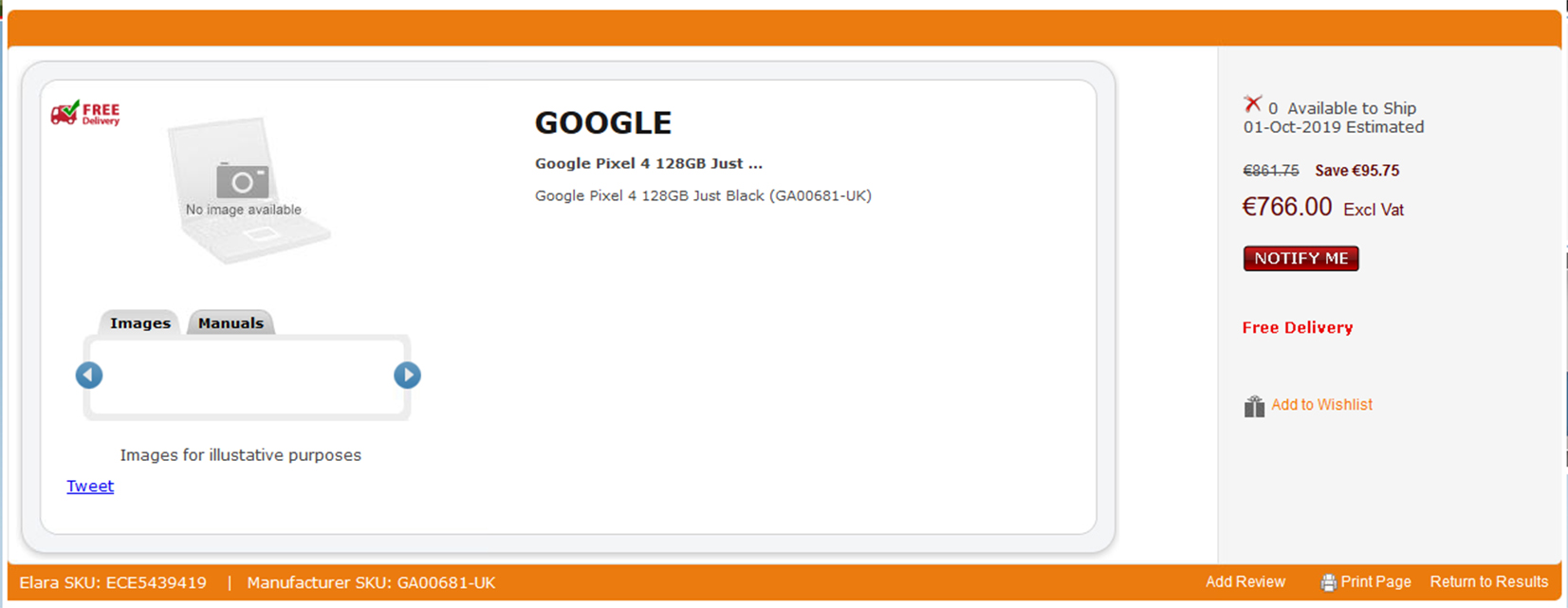 Elara Google Pixel 4 listing