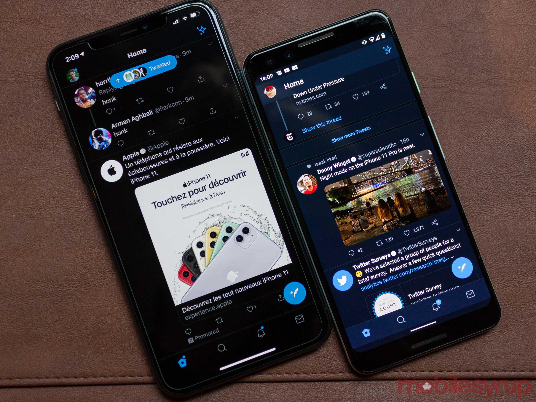 Twitter dark modes
