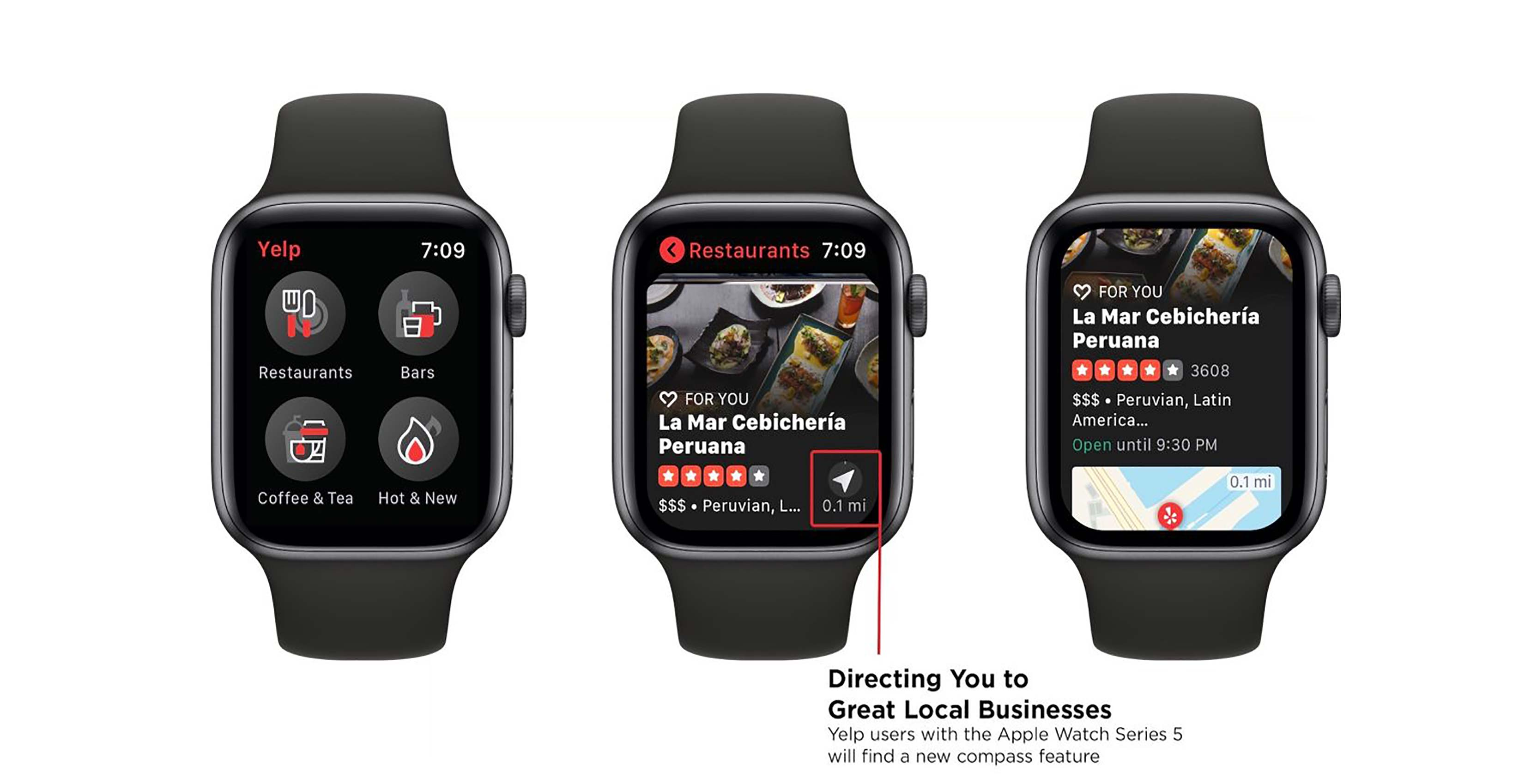 Yelp Apple Watch update adds compass integration to help find businesses