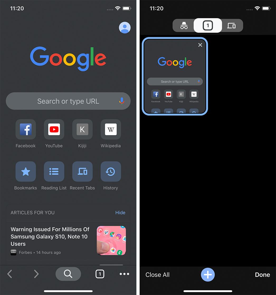 Chrome 78 iOS dark mode