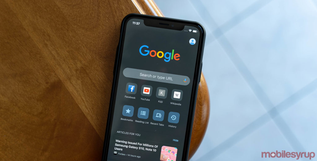 Google Chrome for iOS with dark mode