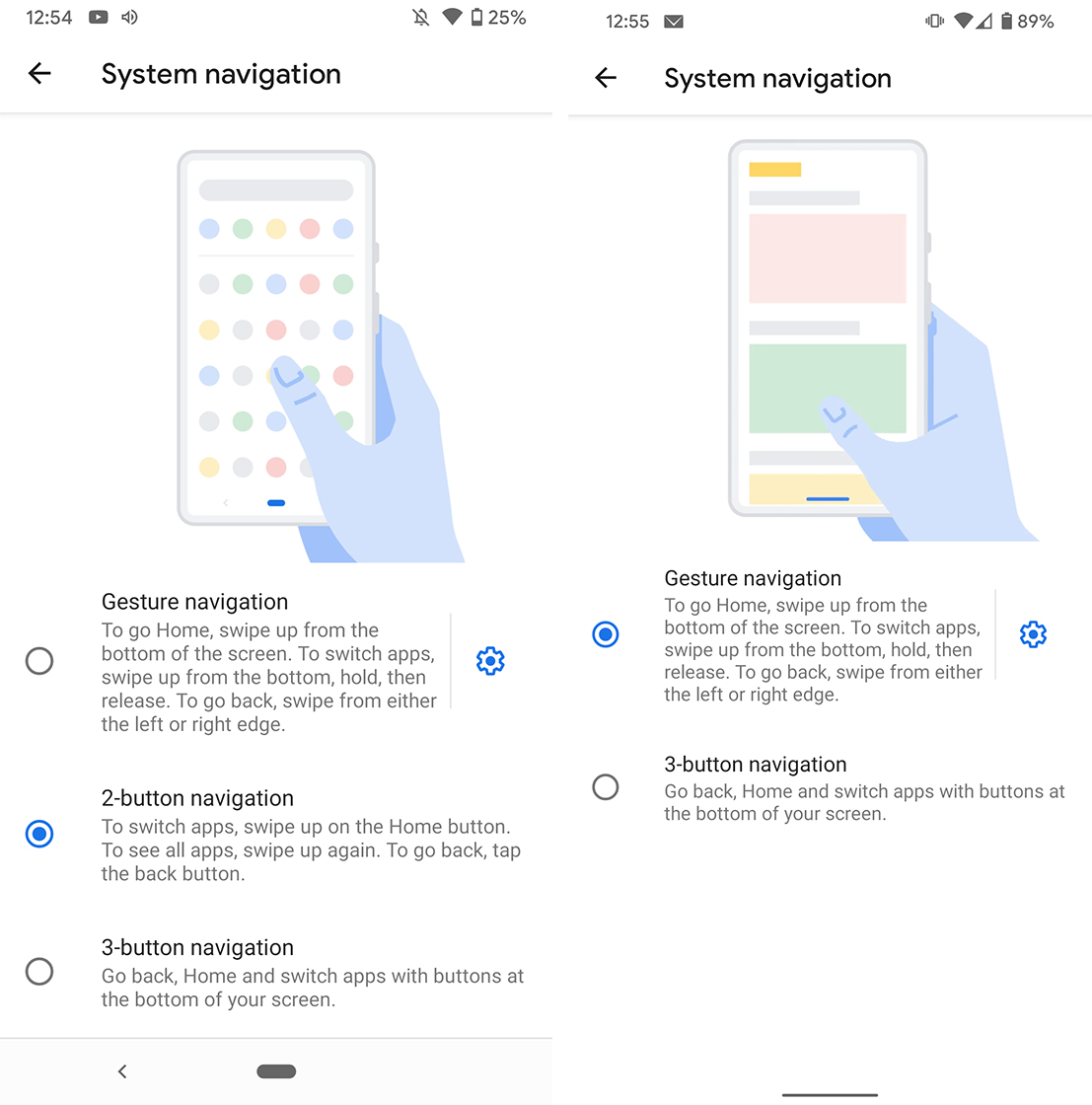 Old pill gestures vs new Android 10 gestures