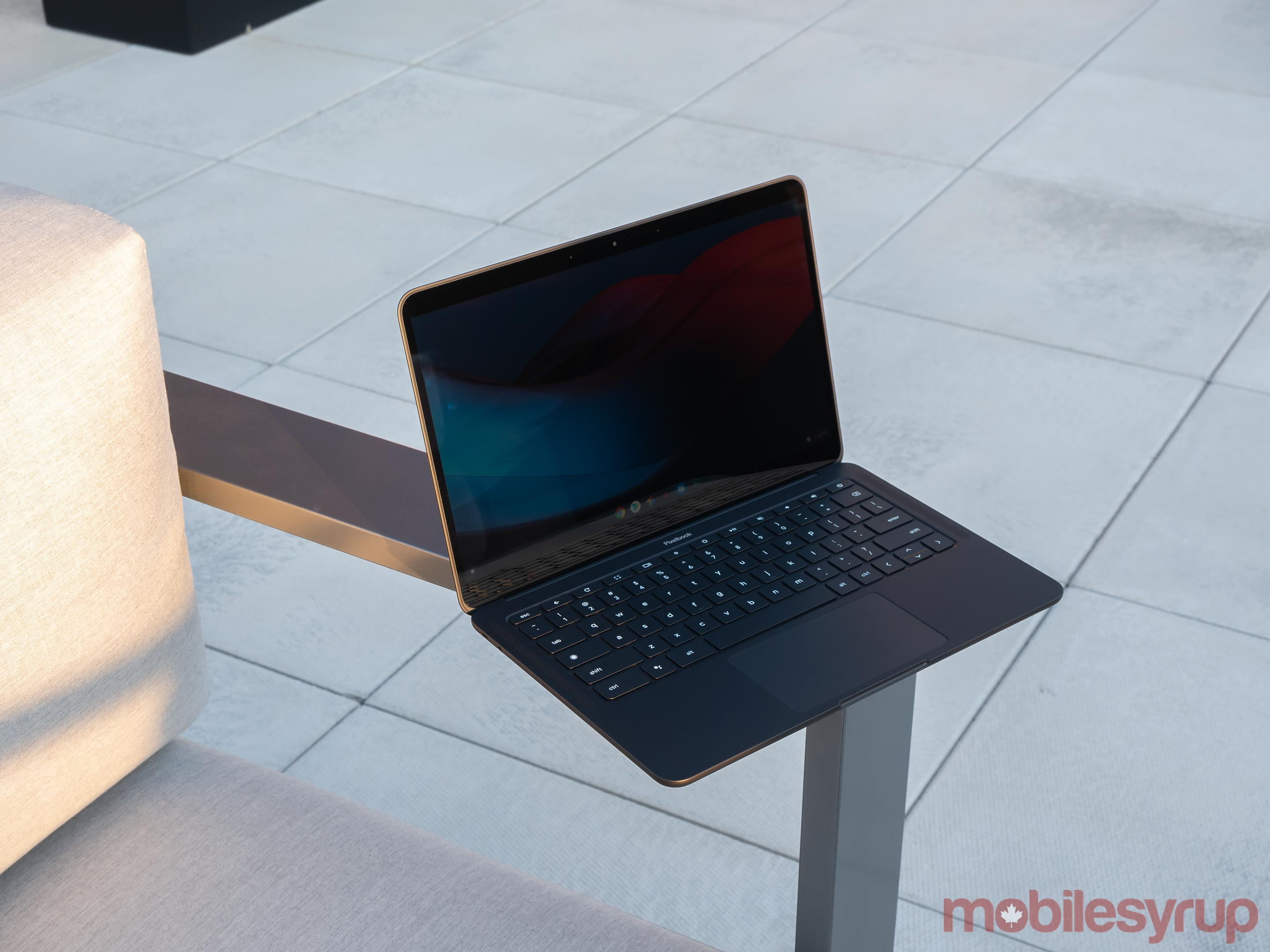 Pixelbook Go on chair arm