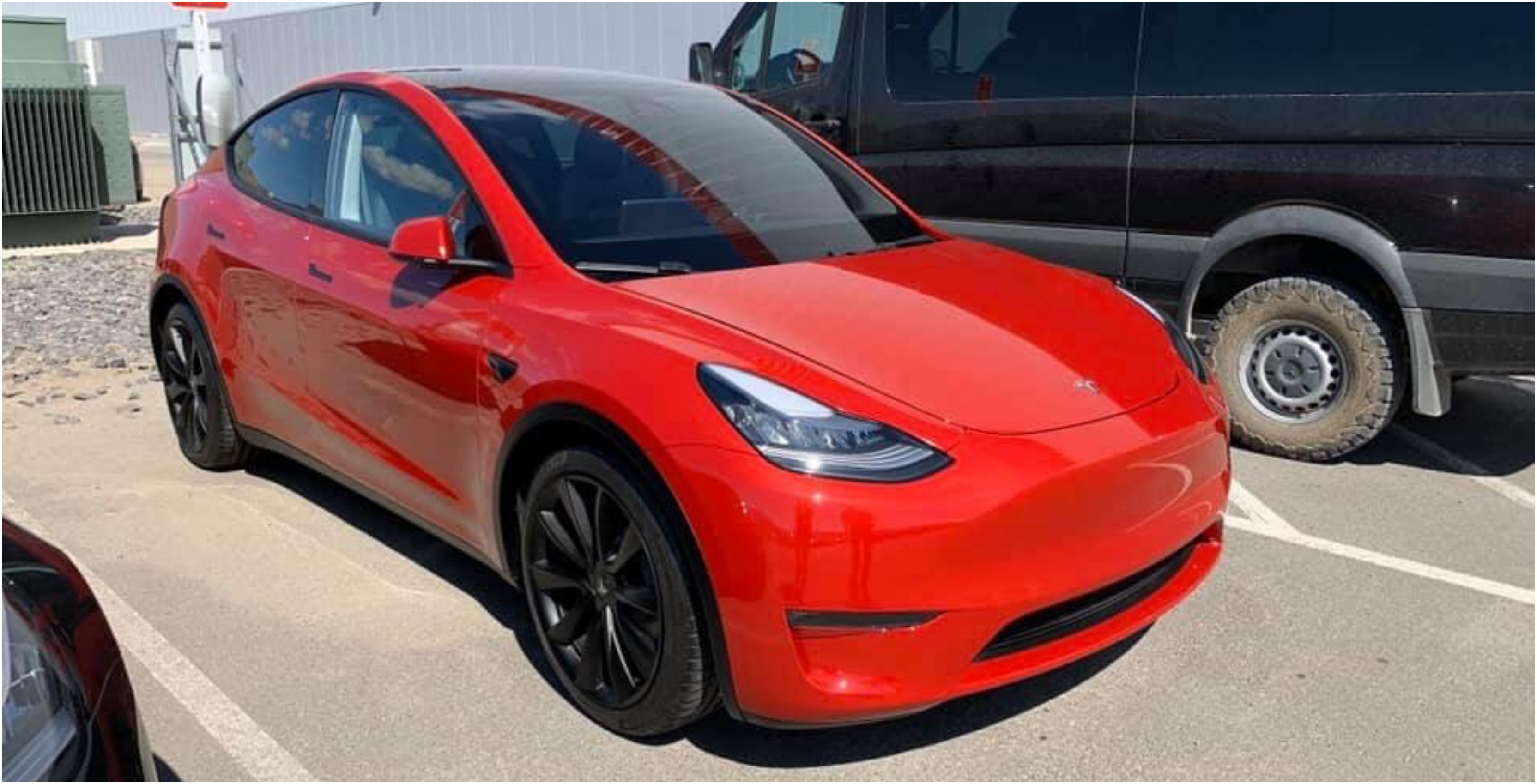 Images of Tesla's Model Y prototype in red surface online