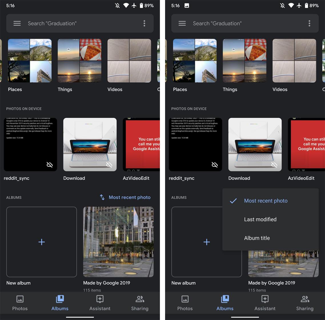 Google Photos album sorting