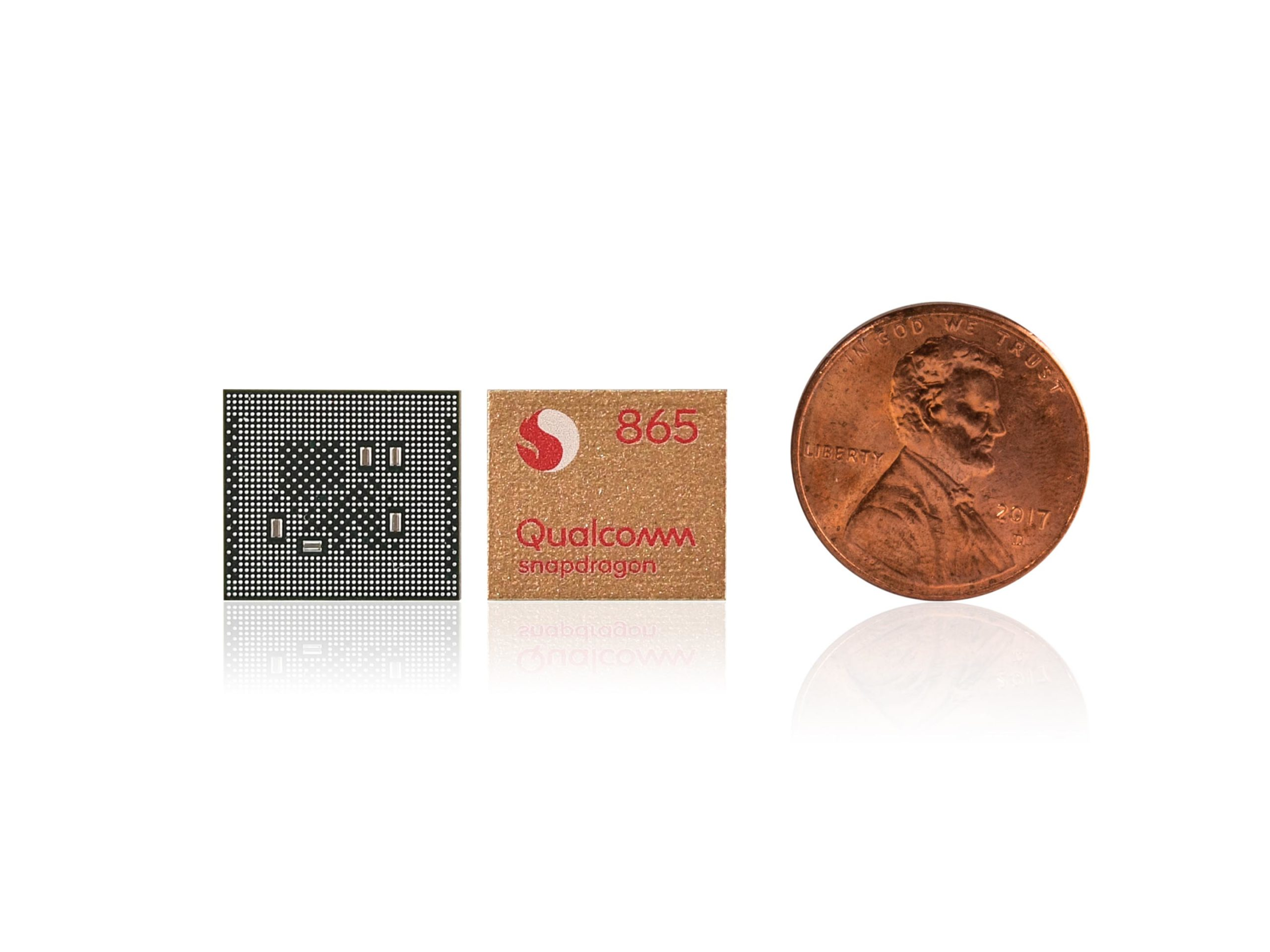 Snapdragon 865 next to coin
