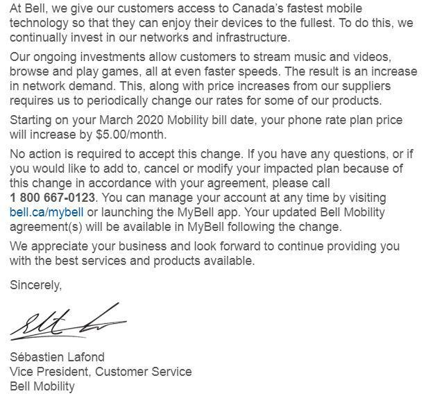 bell price increase notice