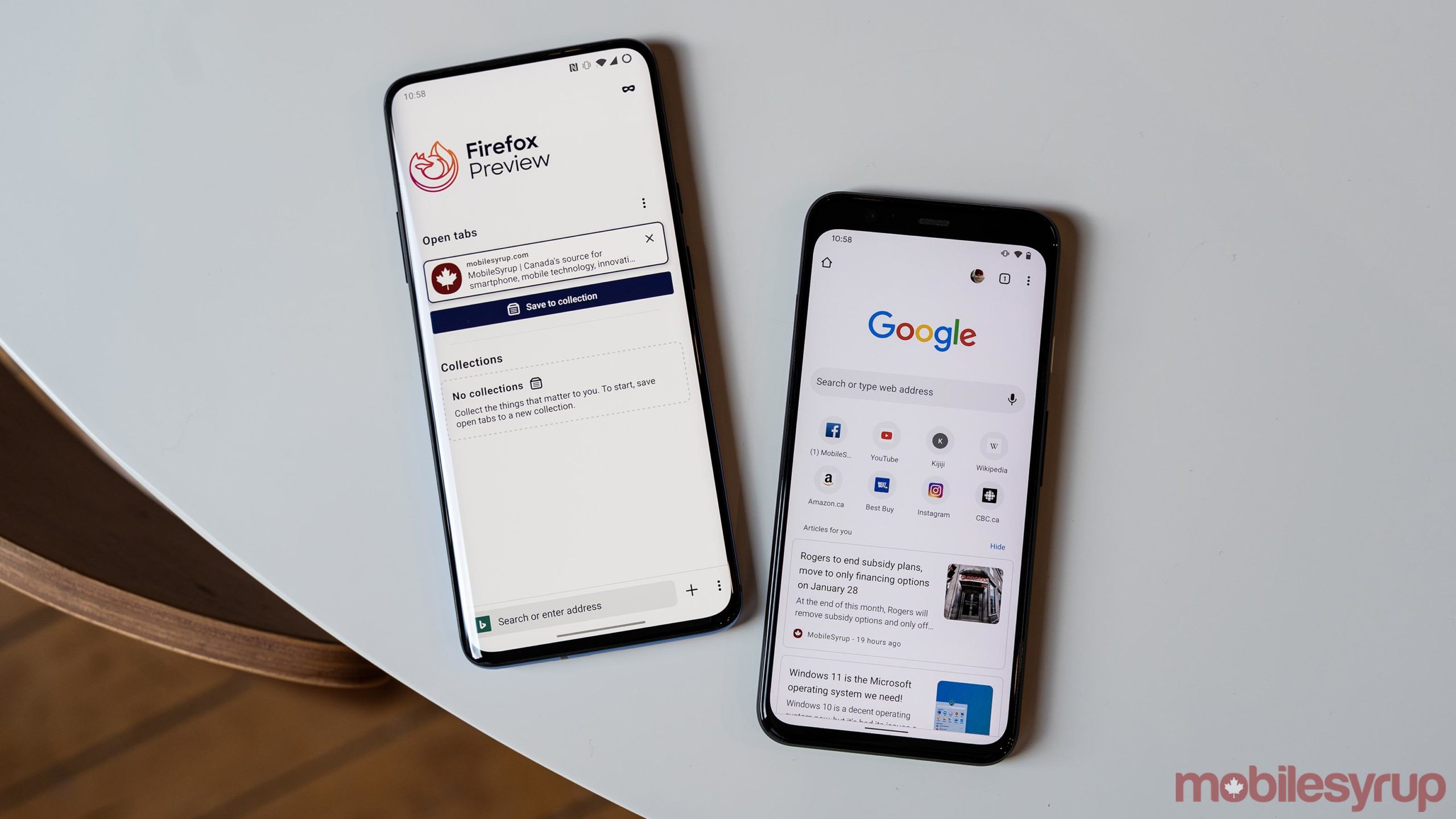 Firefox and Chrome on mobile