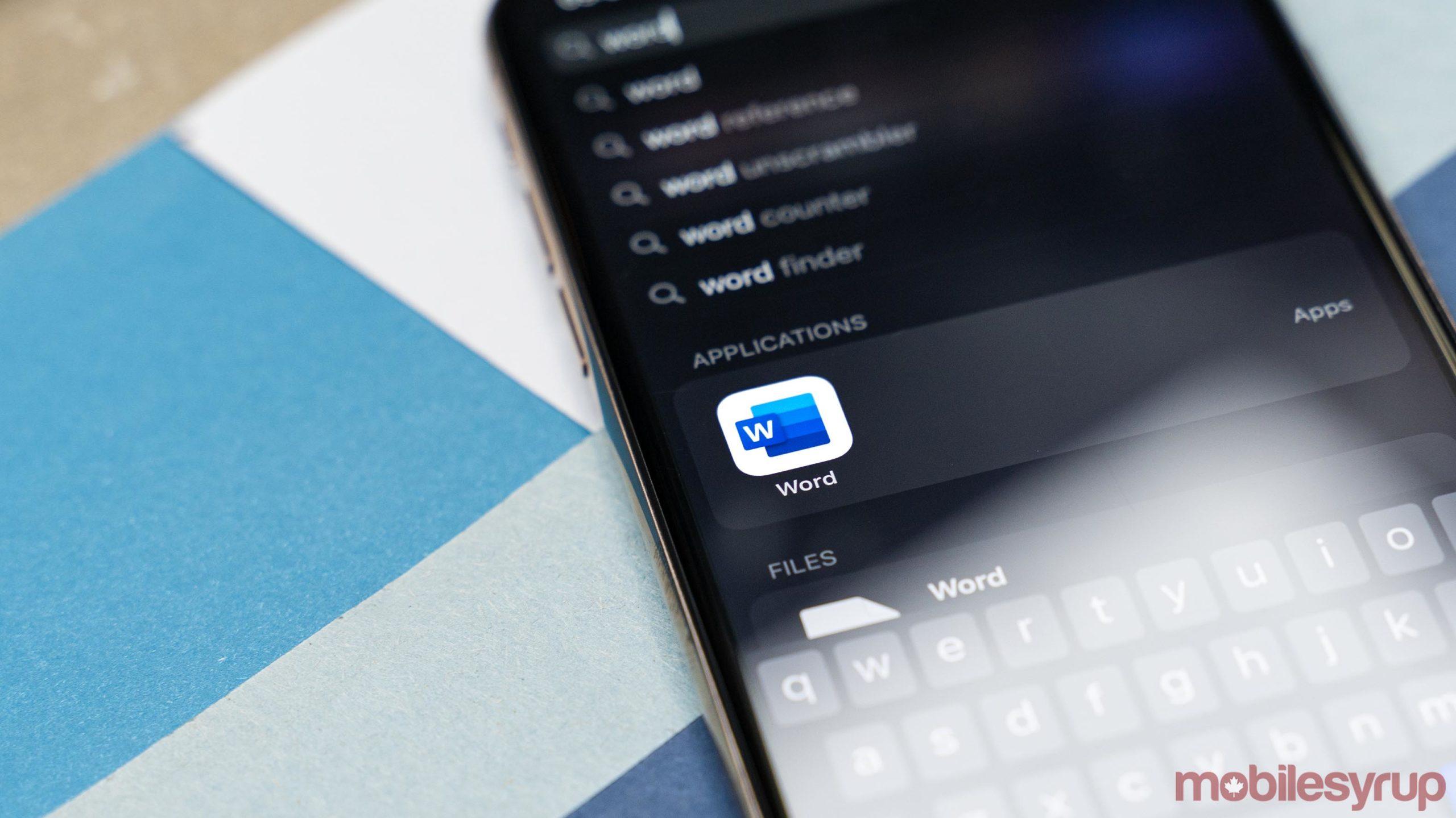 Microsoft Word app on iOS