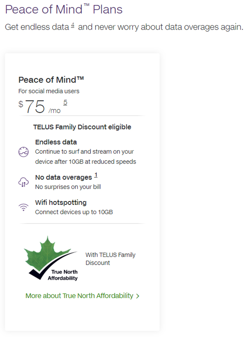 Telus affordability stamp on Peace of Mind plan