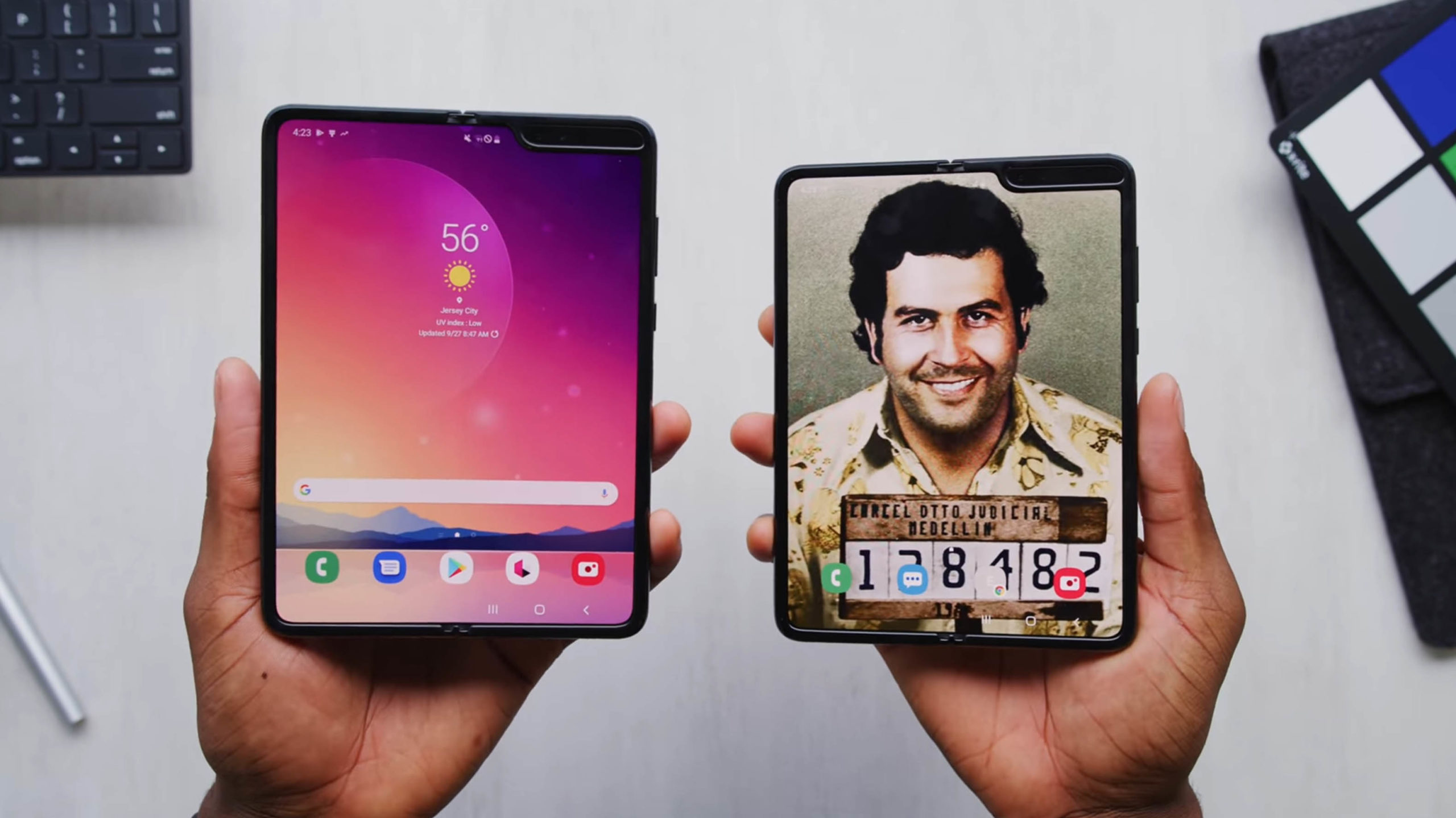 Big Surprise Escobar Fold 2 Phone Is Just A Galaxy Fold With A Gold Sticker On It