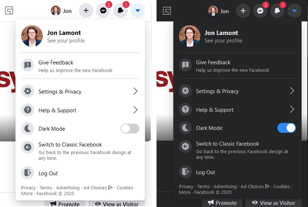 Facebook light mode and dark mode