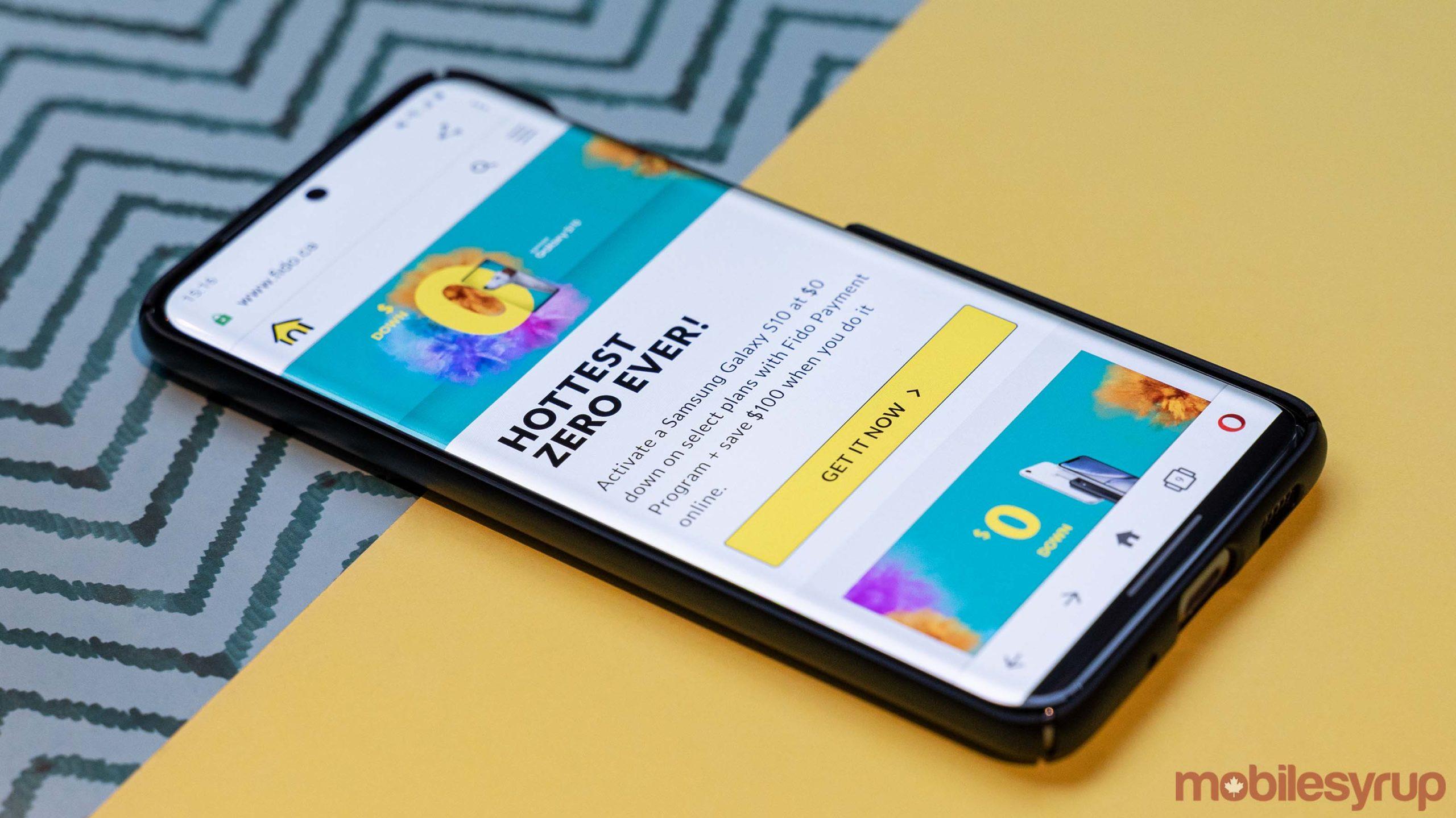 Fido's website on the Galaxy S20