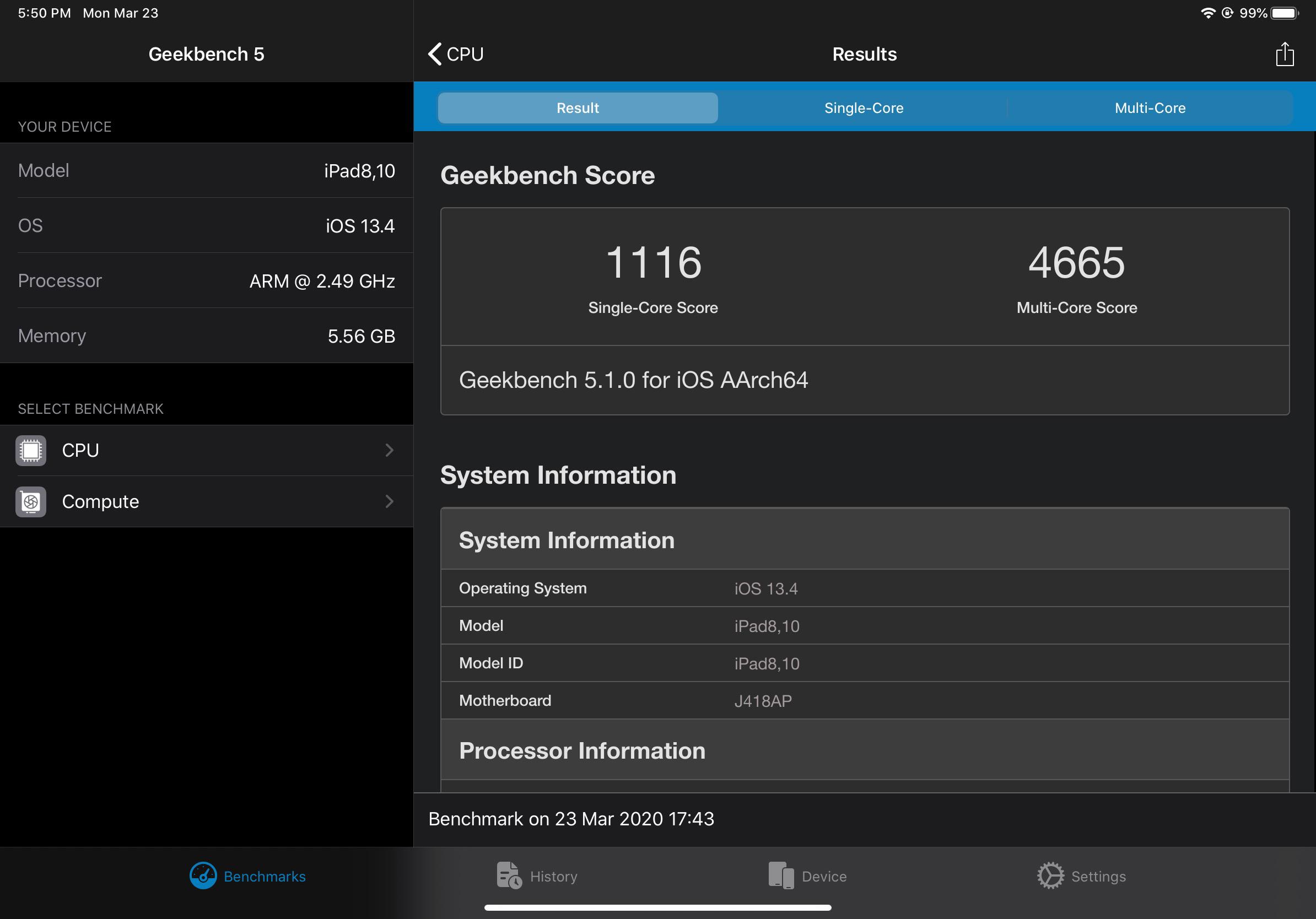 11-inch iPad Pro 2020 Geekbench score