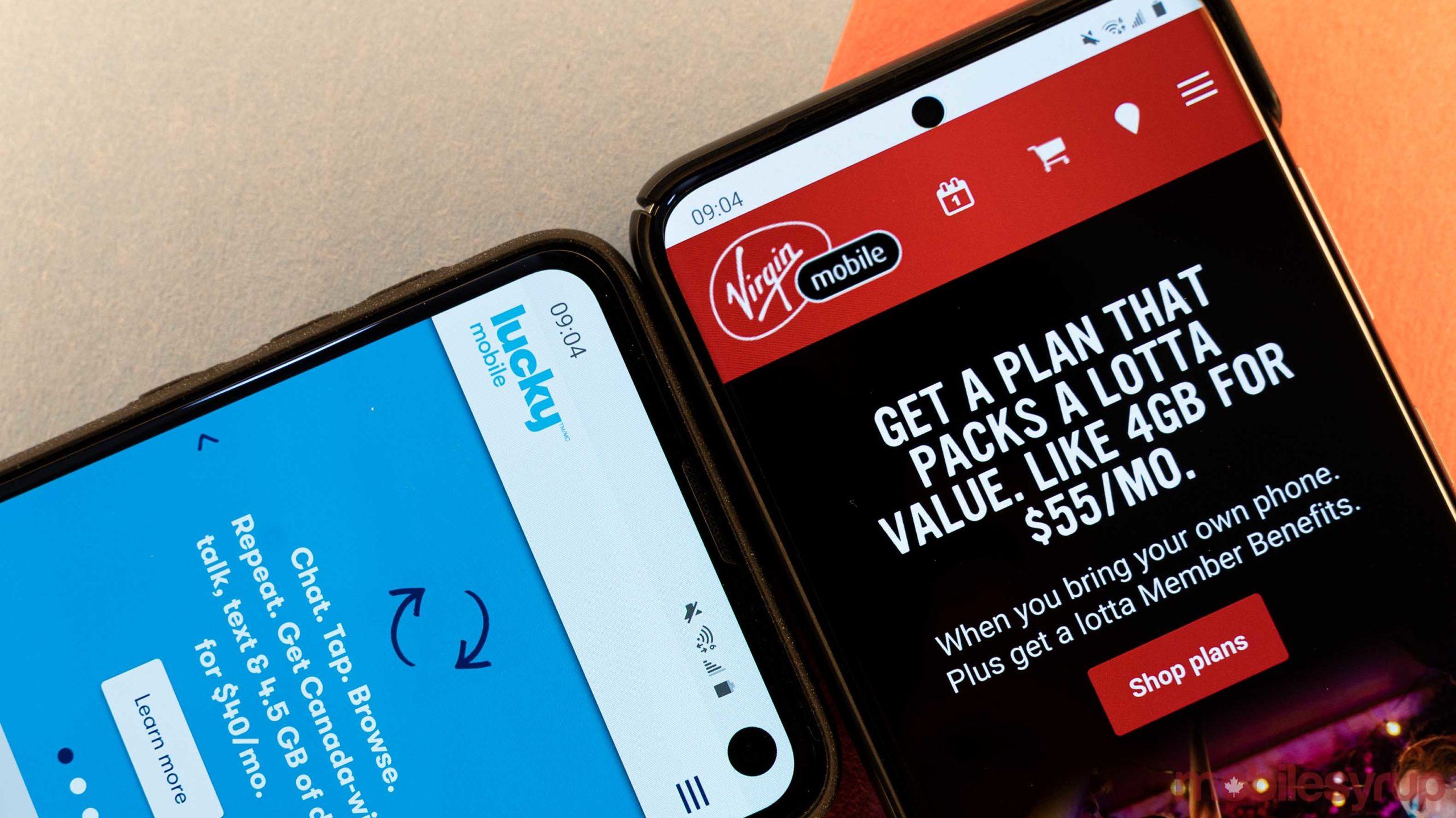 Lucky Mobile and Virigin Mobile websites