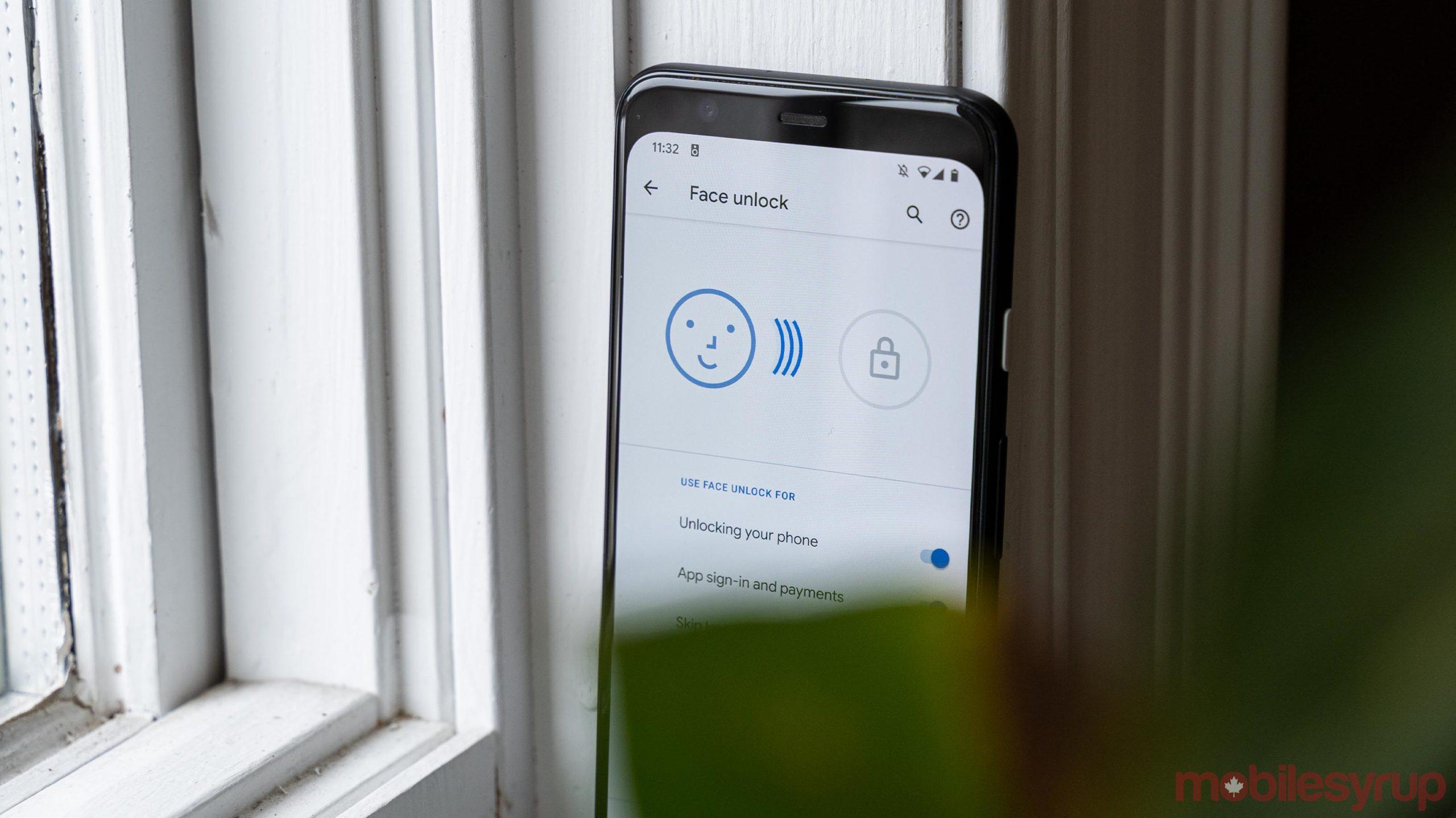 Pixel 4 Face unlock menu