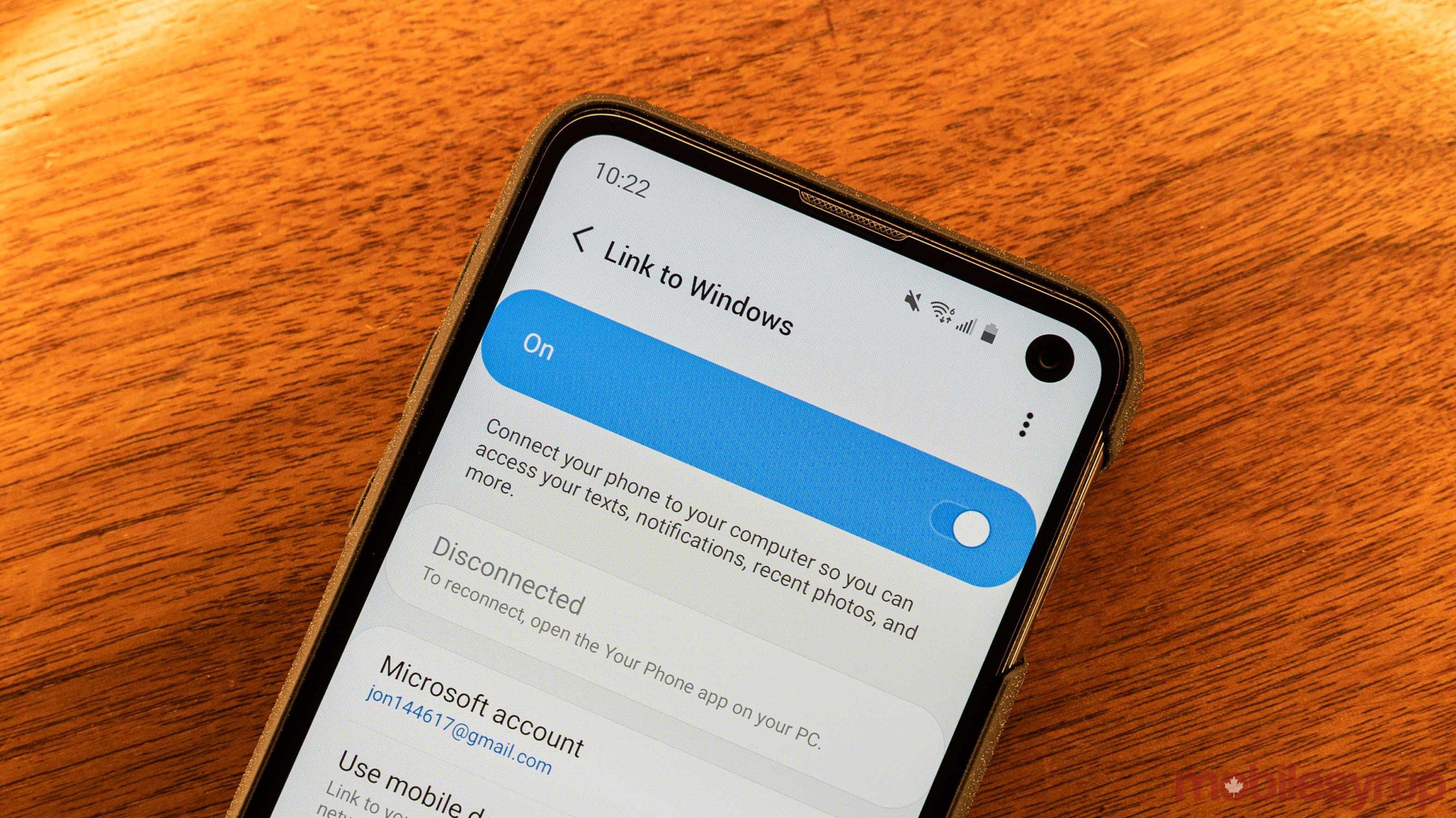 Samsung Your Phone menu in Settings