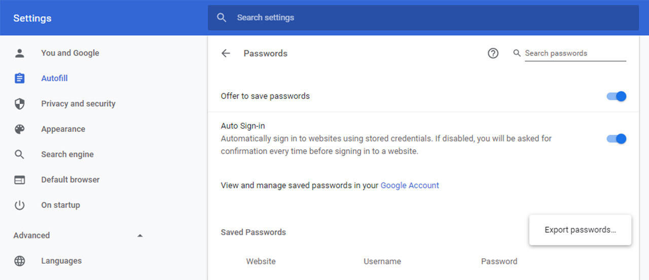 google chrome export passwords