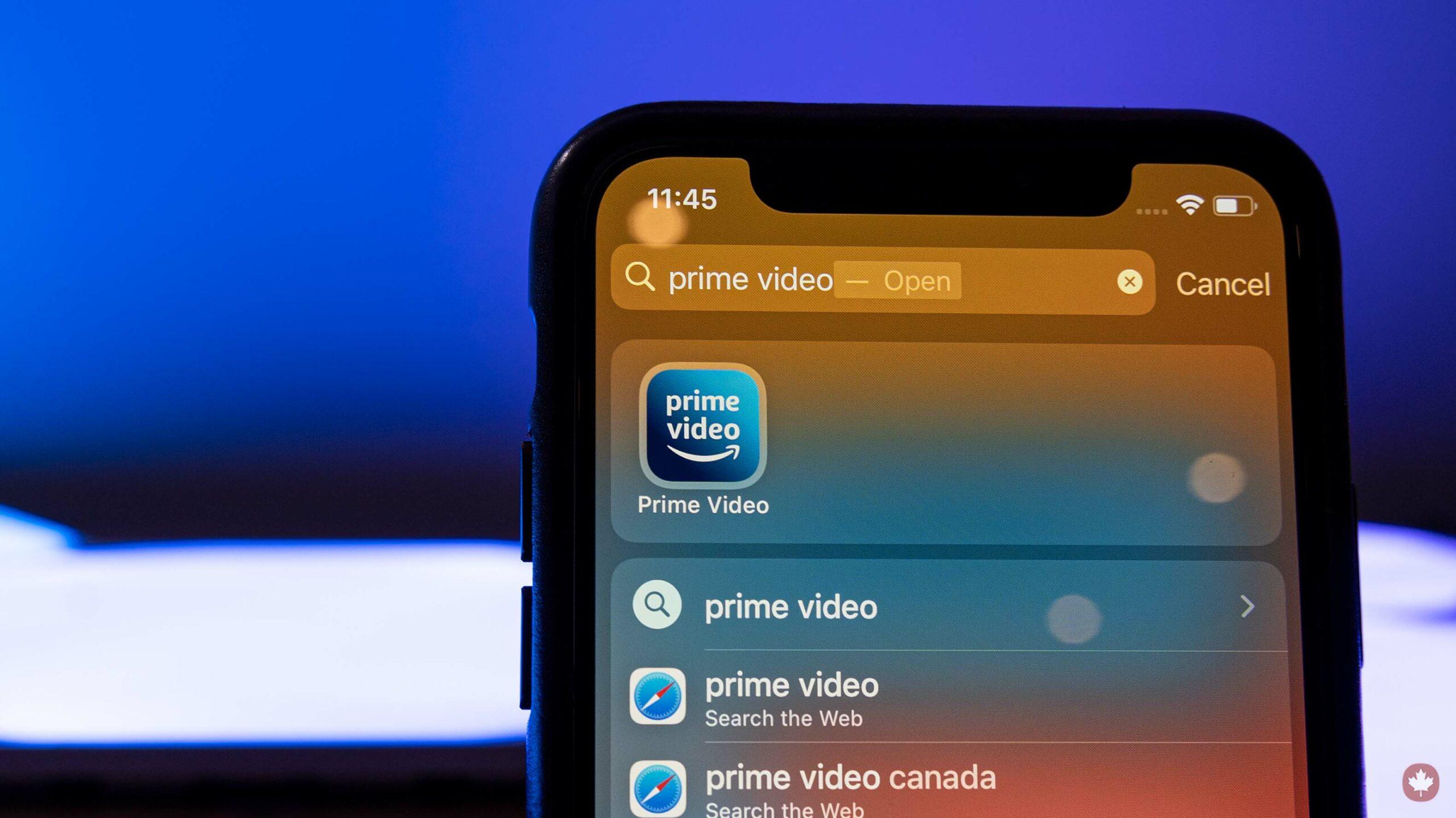 Amazon Prime Video app on iPhone