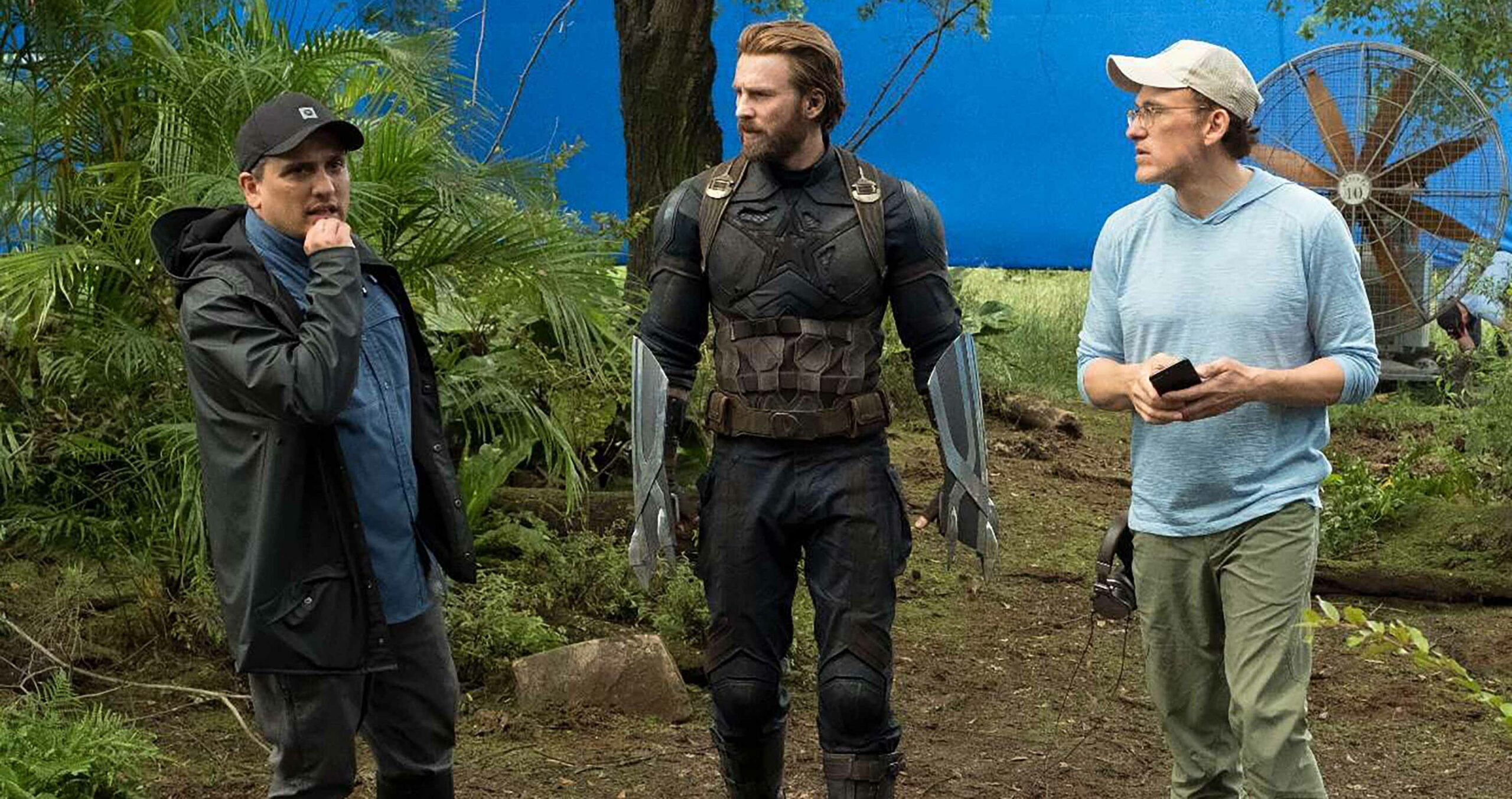 Chris Evans with the Russo Brothers