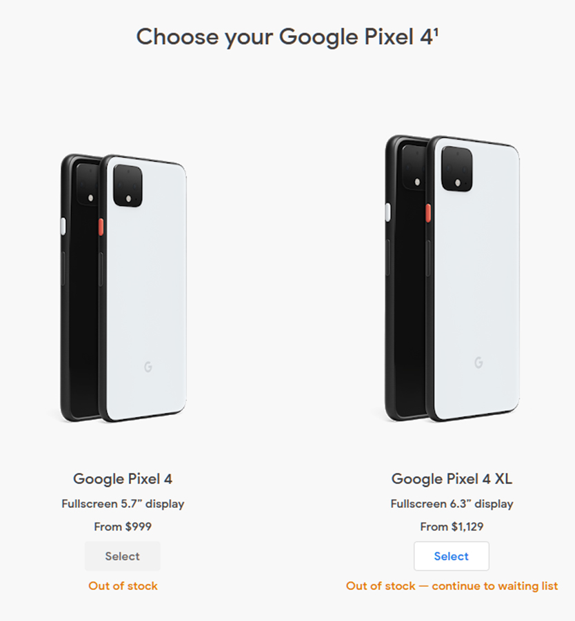 Pixel 4 and 4 XL out of stock on the Google Store