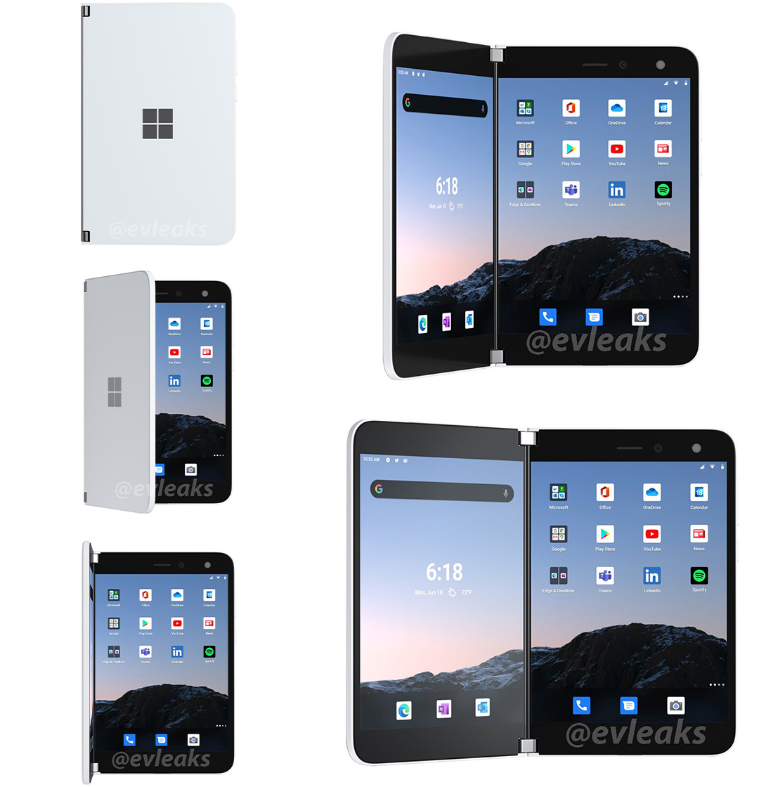 Surface Duo renders leak showing camera flash and pre-loaded apps