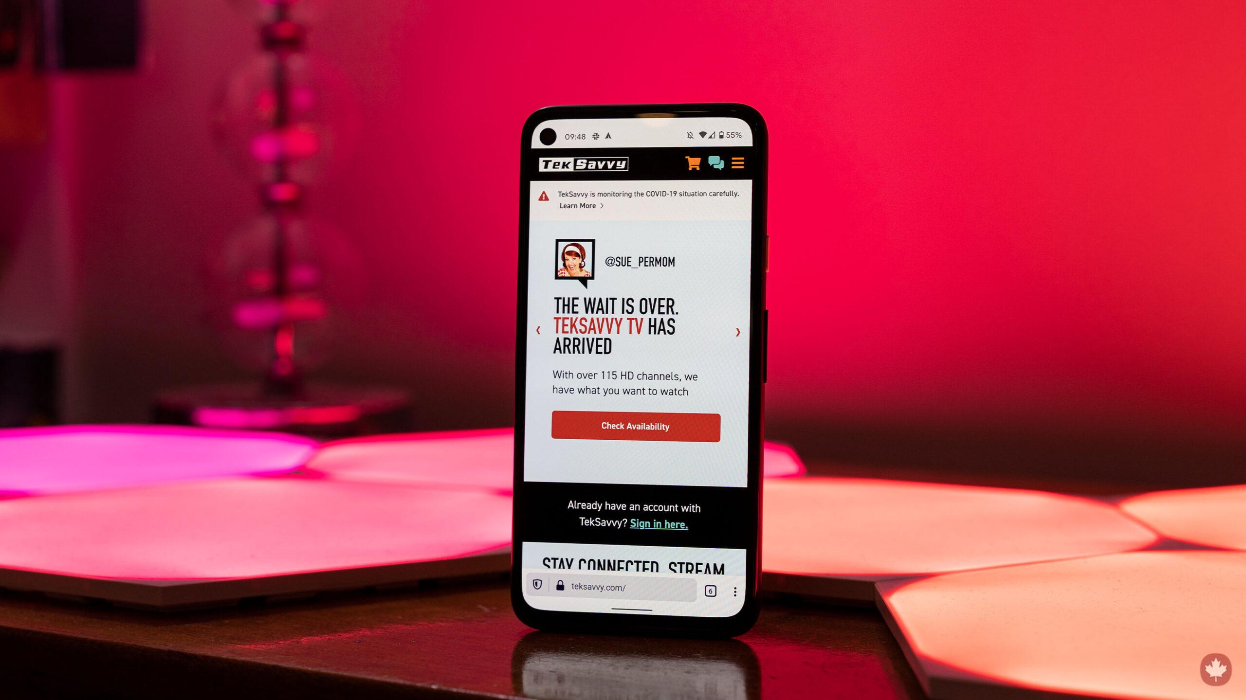 TekSavvy website on mobile