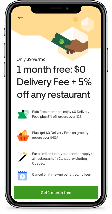 Uber Eats Uber Eats Eats Pass 1 Month Free Trial No Qc Yet Redflagdeals Com Forums