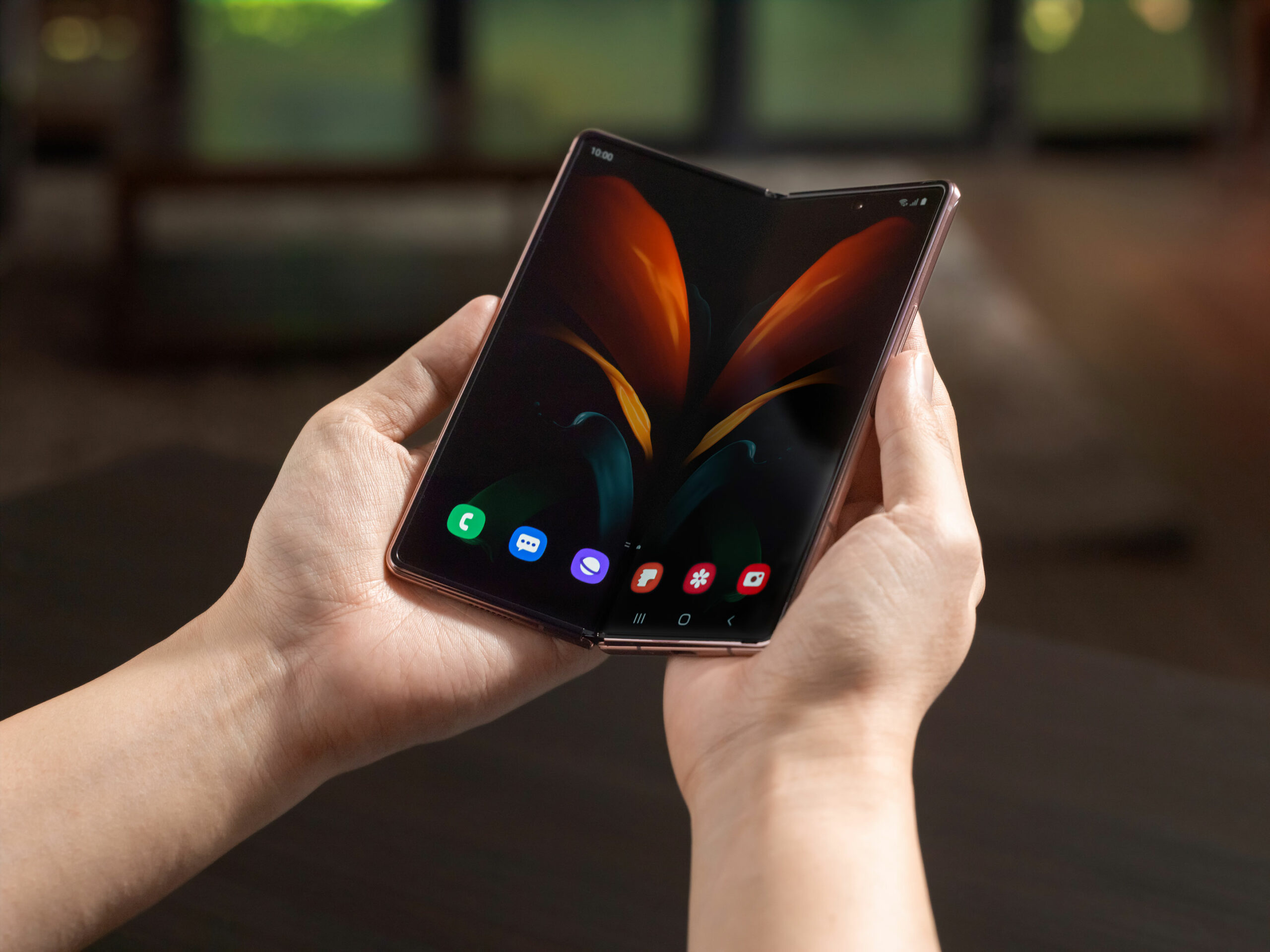 Galaxy Z Fold 2 being held