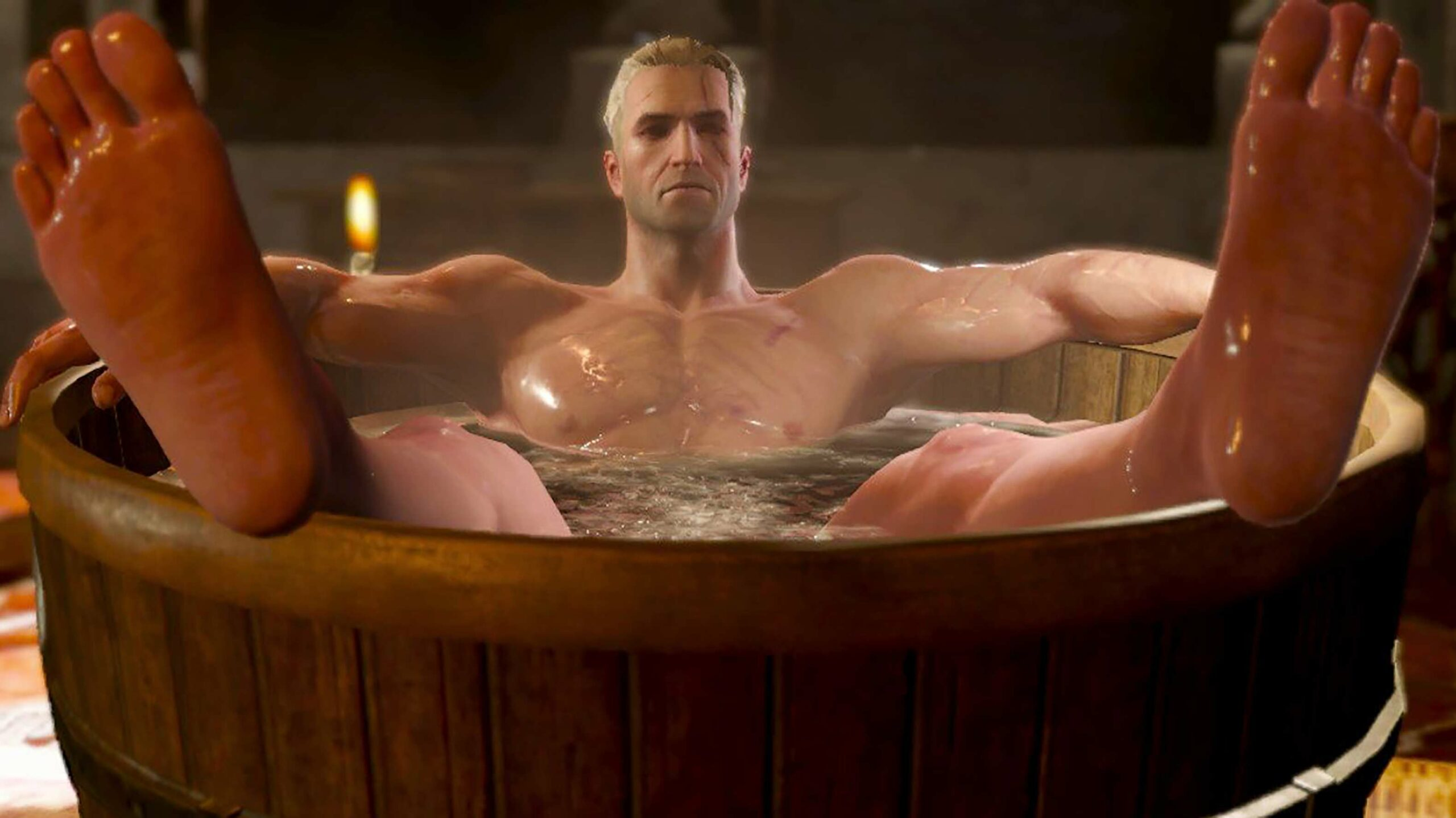 The Witcher 3 Wild Hunt Complete Edition Geralt bathing