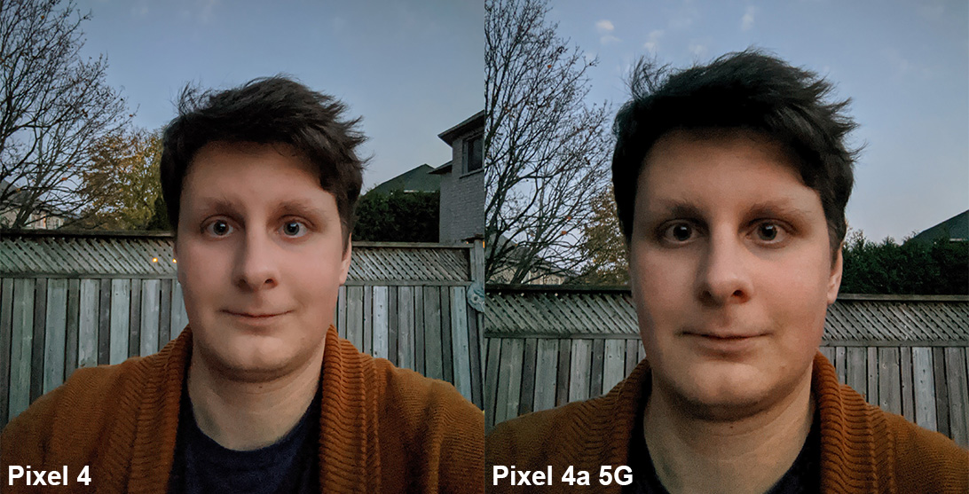 pixel 4a 5g night comparison selfie with night mode